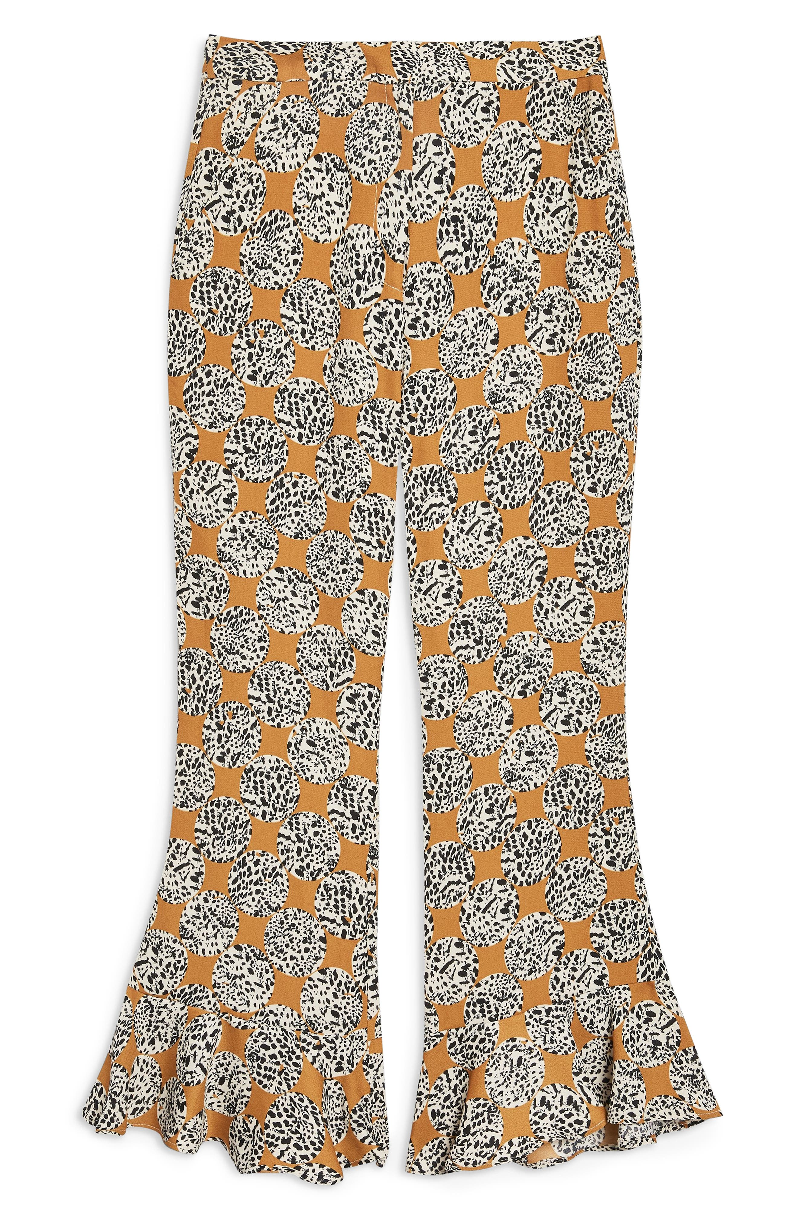 Leopard Spot Frill Trousers,                             Alternate thumbnail 4, color,                             TAN MULTI