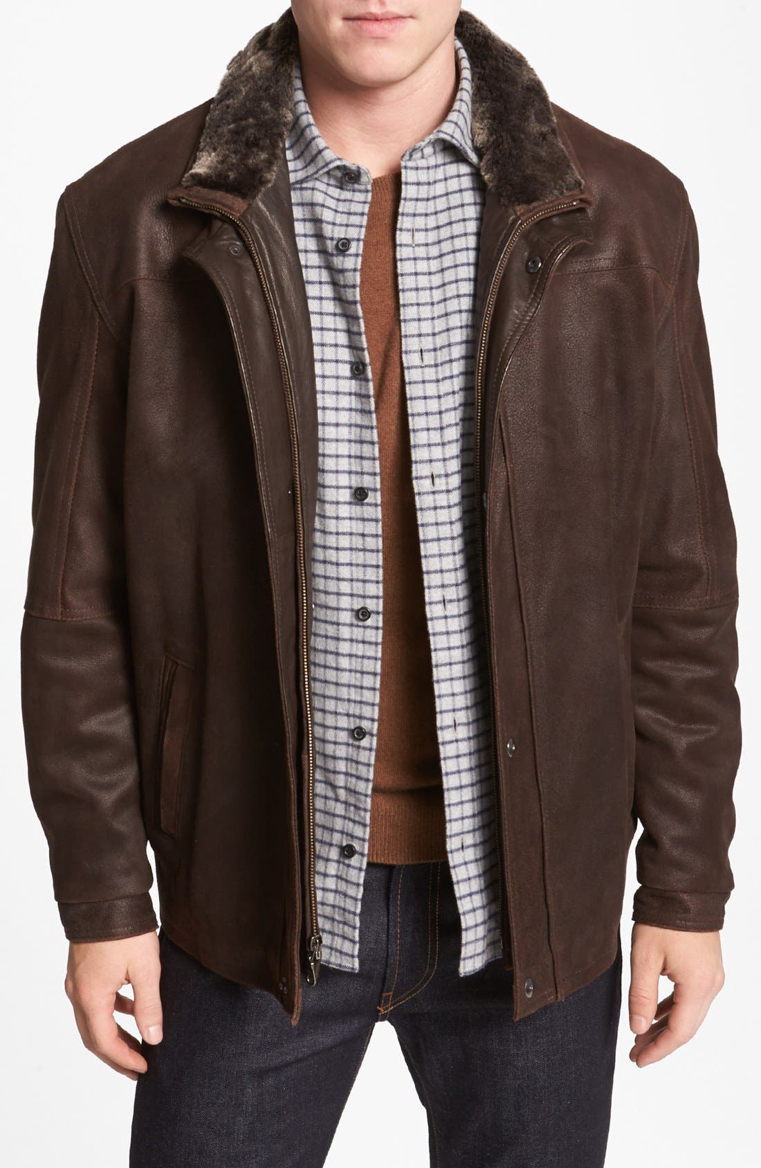 Double Collar Leather Jacket,                             Main thumbnail 1, color,                             236