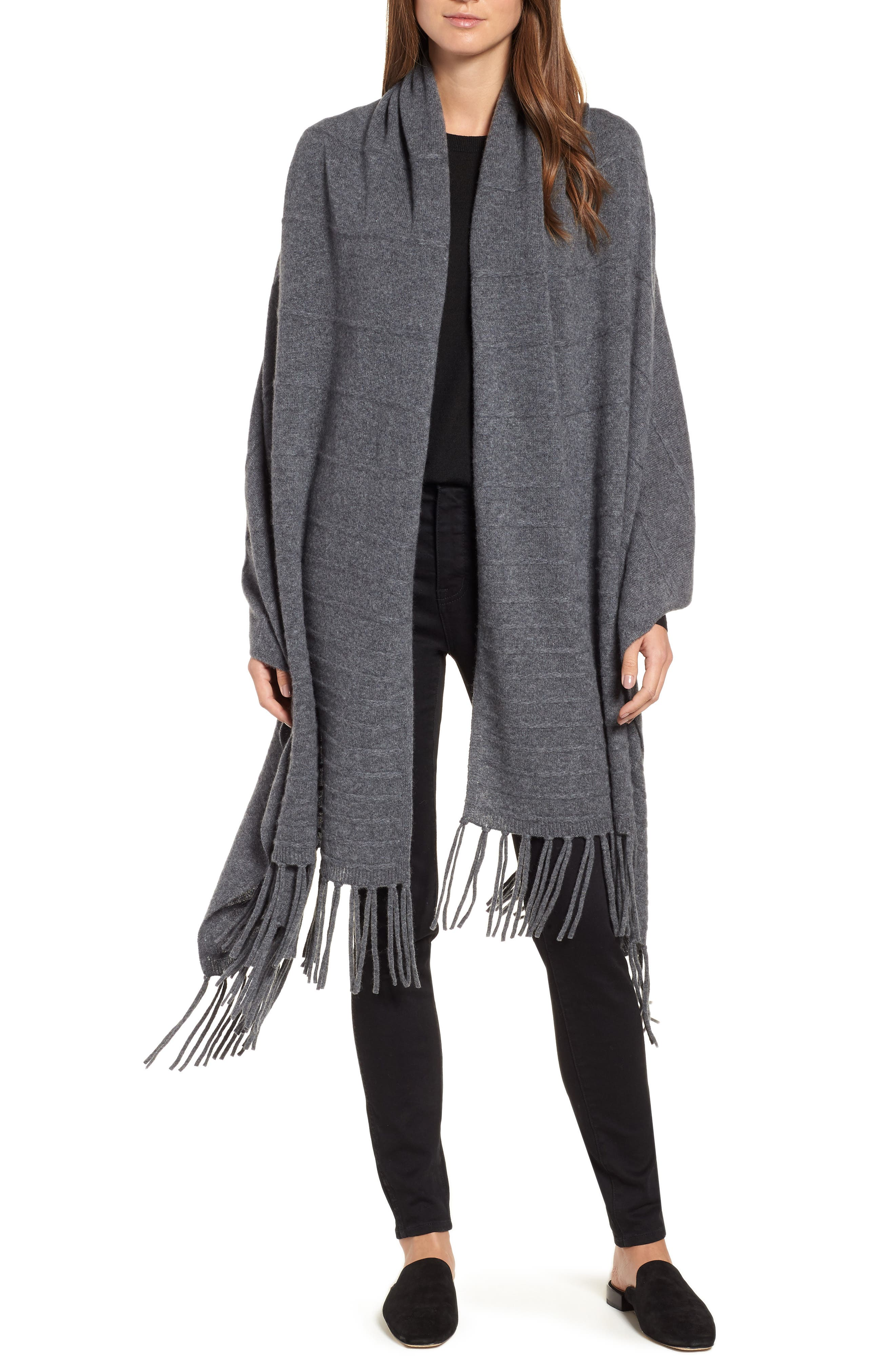 Cashmere Wrap,                         Main,                         color, GREY DARK HEATHER