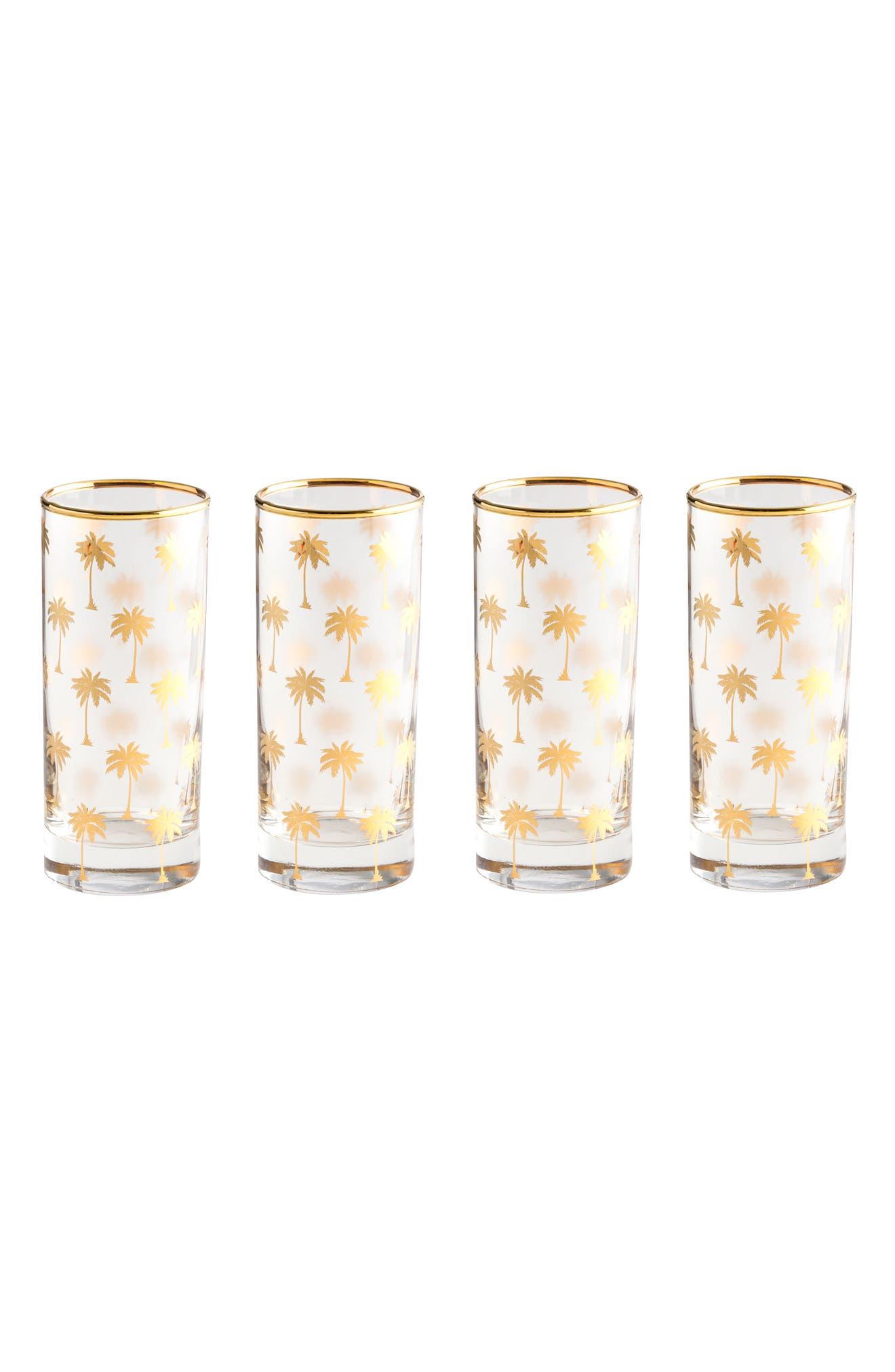 Palm Tree Set of 4 Highball Glasses,                             Main thumbnail 1, color,                             710