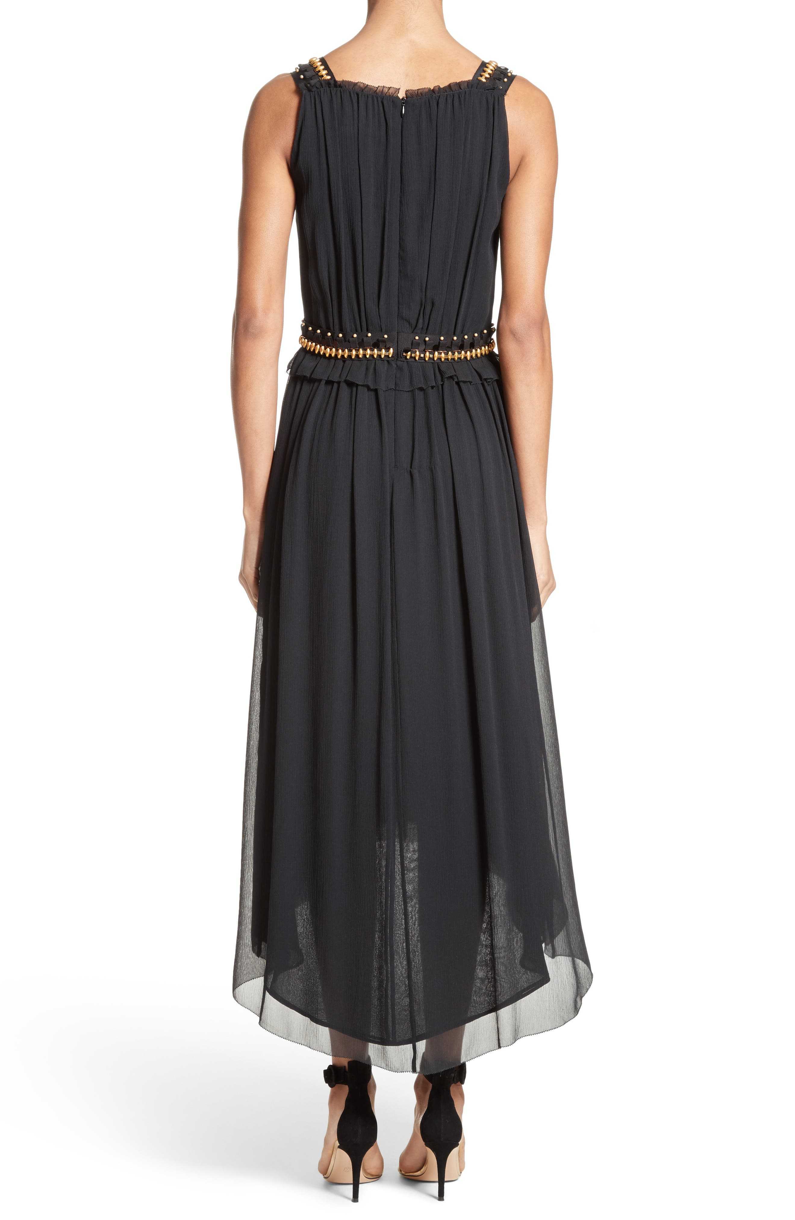 Crinkled Silk Georgette Dress,                             Alternate thumbnail 2, color,                             001