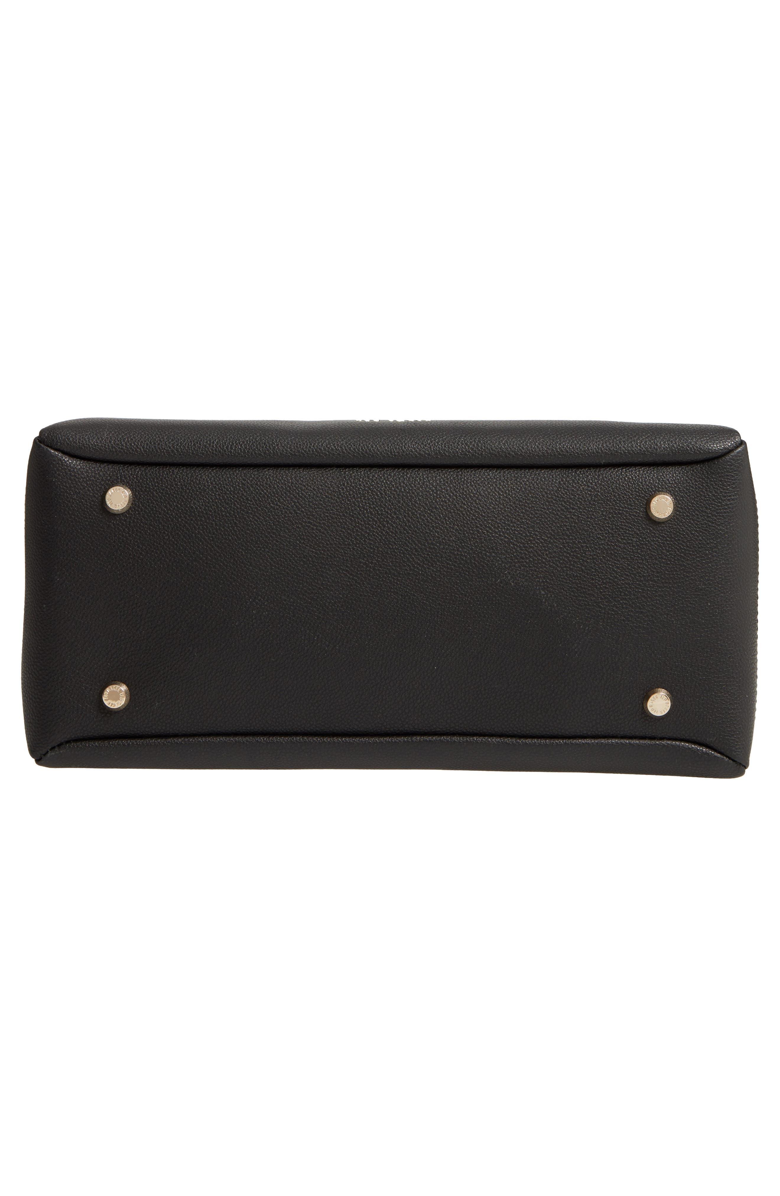 Julieet Large Adjustable Handle Leather Satchel,                             Alternate thumbnail 6, color,                             BLACK
