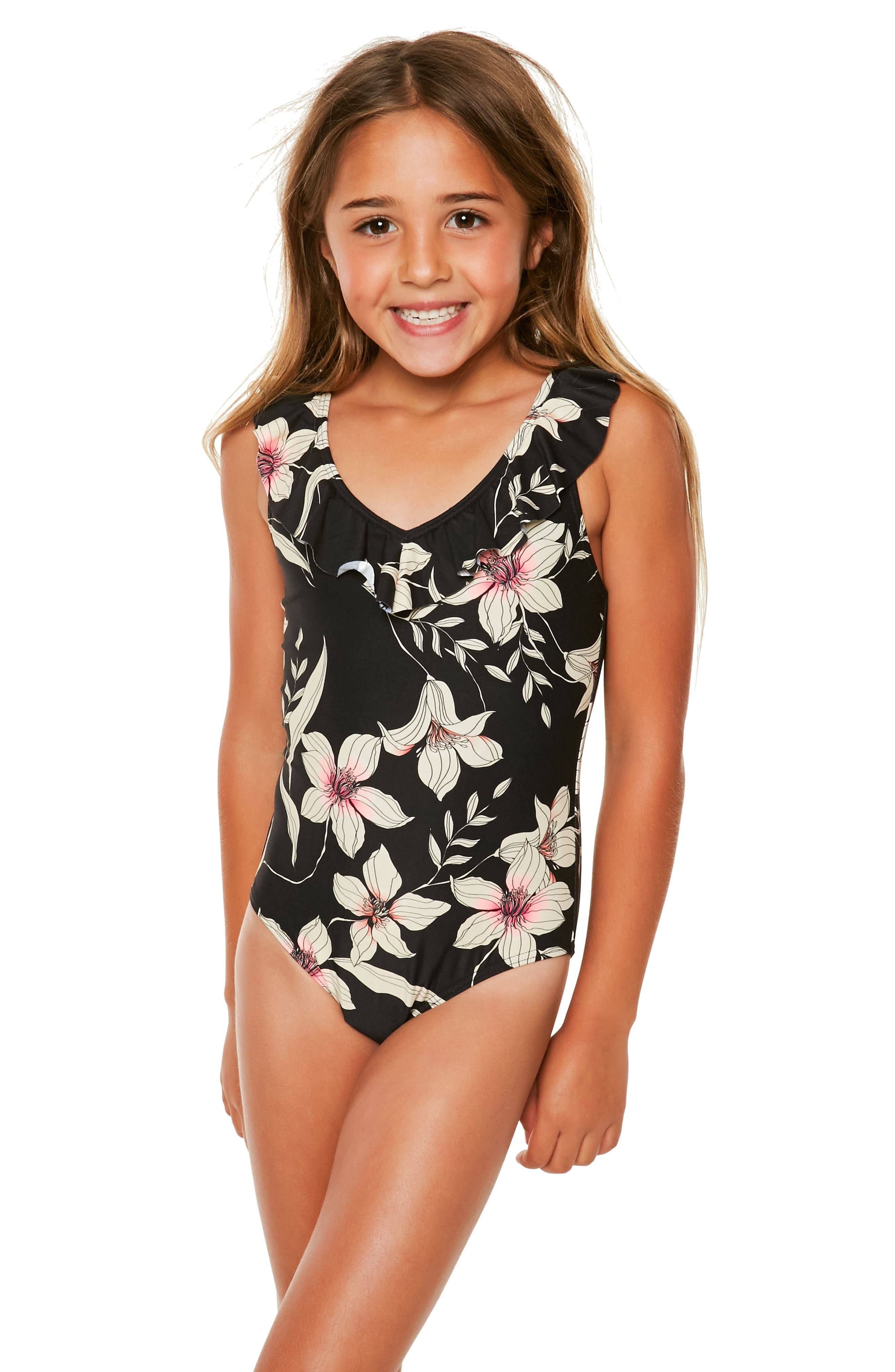 Albany Ruffle One-Piece Swimsuit,                             Alternate thumbnail 2, color,                             001