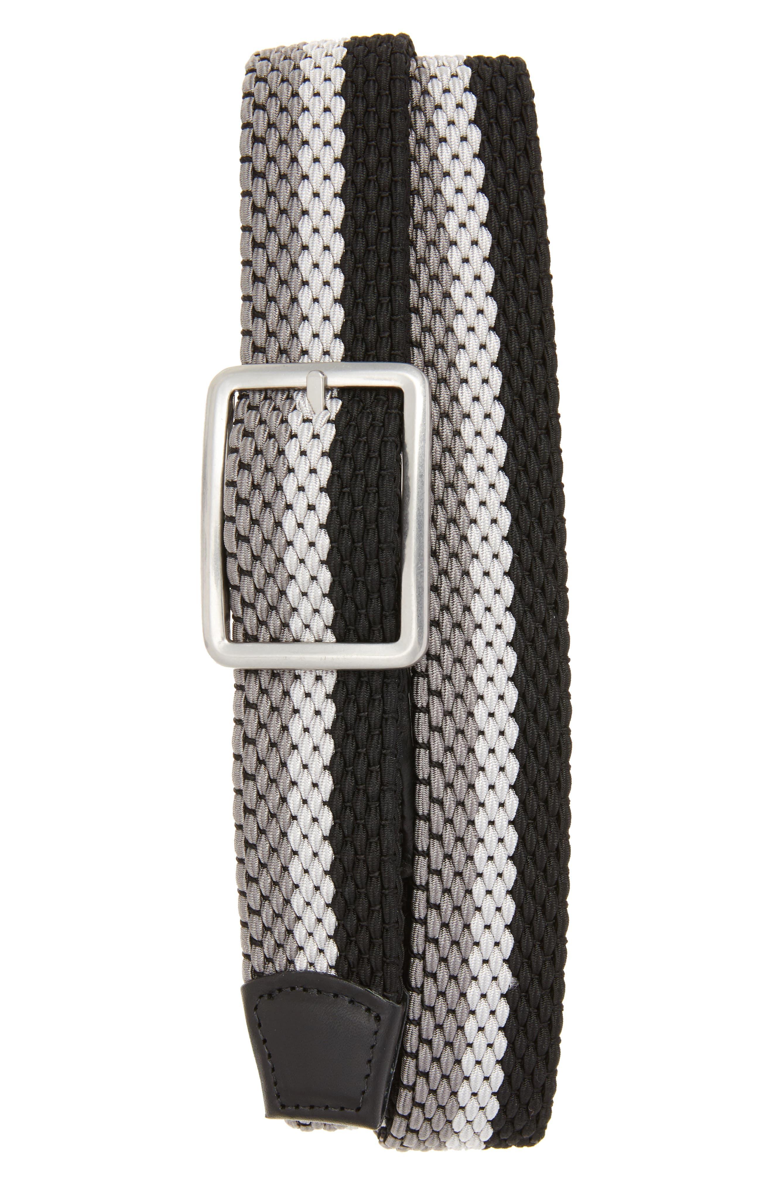 Tri Stripe Reversible Woven Belt,                             Main thumbnail 1, color,                             GREY/ NICKLE/ BLACK