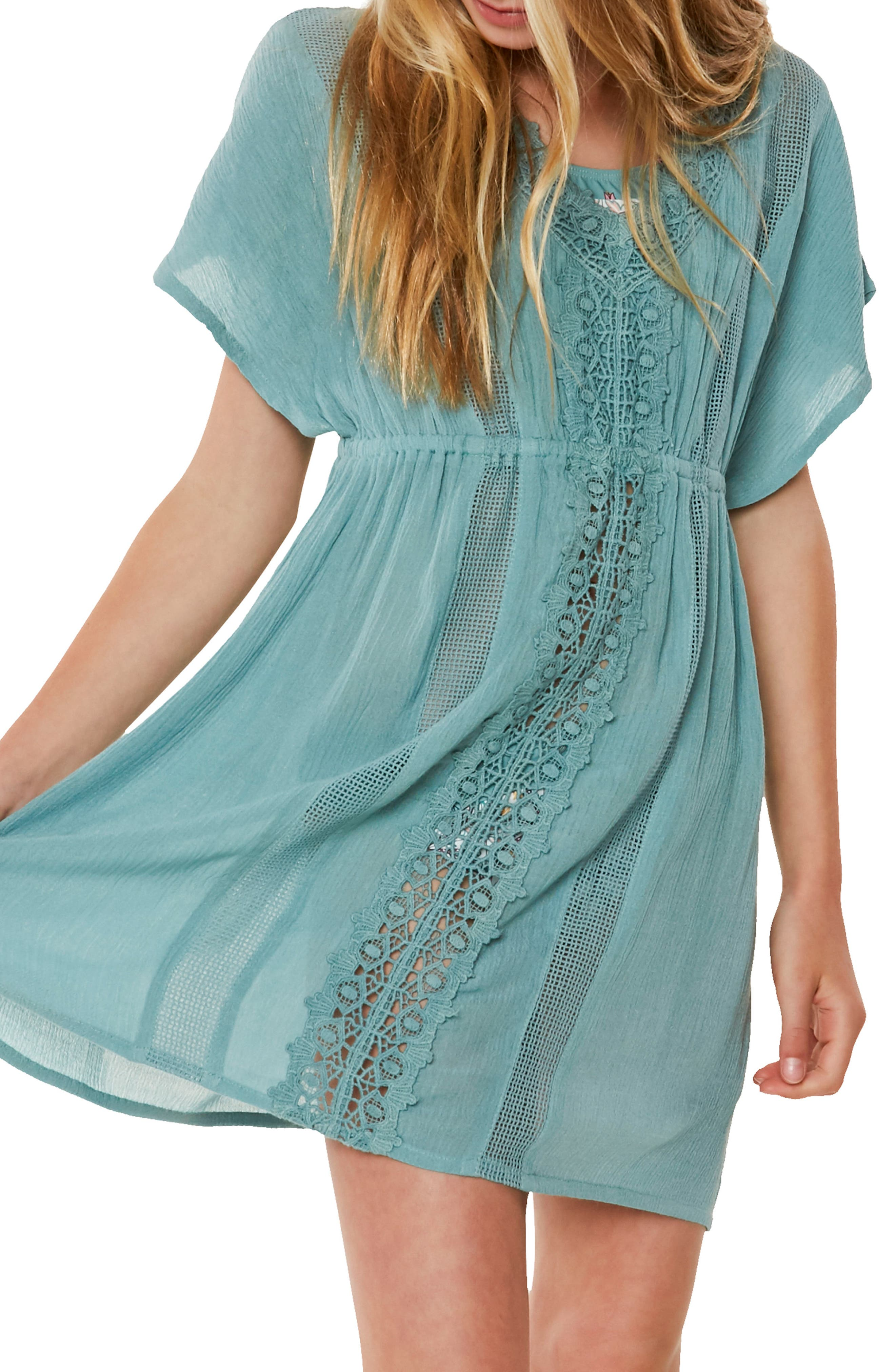 Kayla Crochet Cover-Up Dress,                             Alternate thumbnail 3, color,                             420