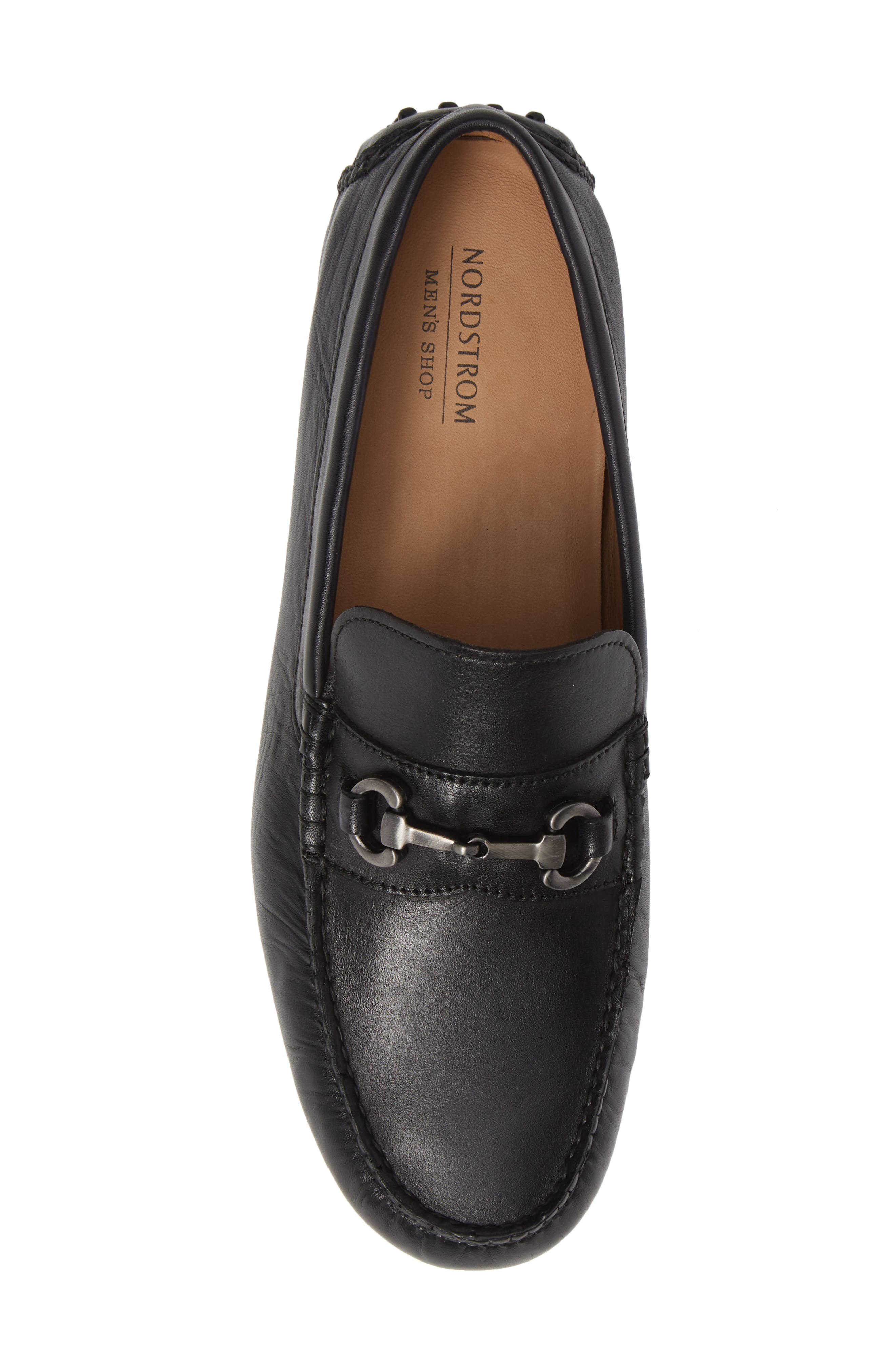 NORDSTROM MEN'S SHOP,                             Anthony Driving Shoe,                             Alternate thumbnail 5, color,                             BLACK LEATHER