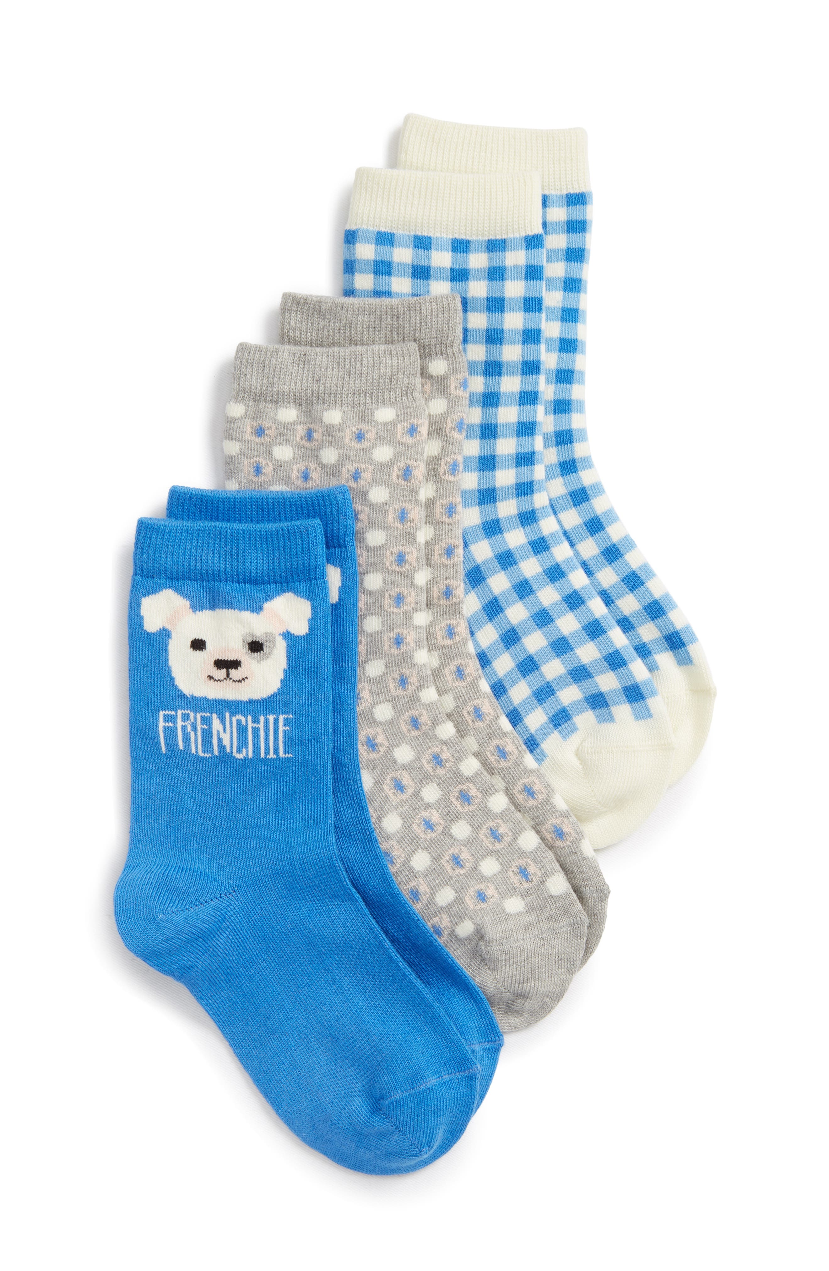 Frenchie 3-Pack Crew Socks,                         Main,                         color, BLUE CAMP