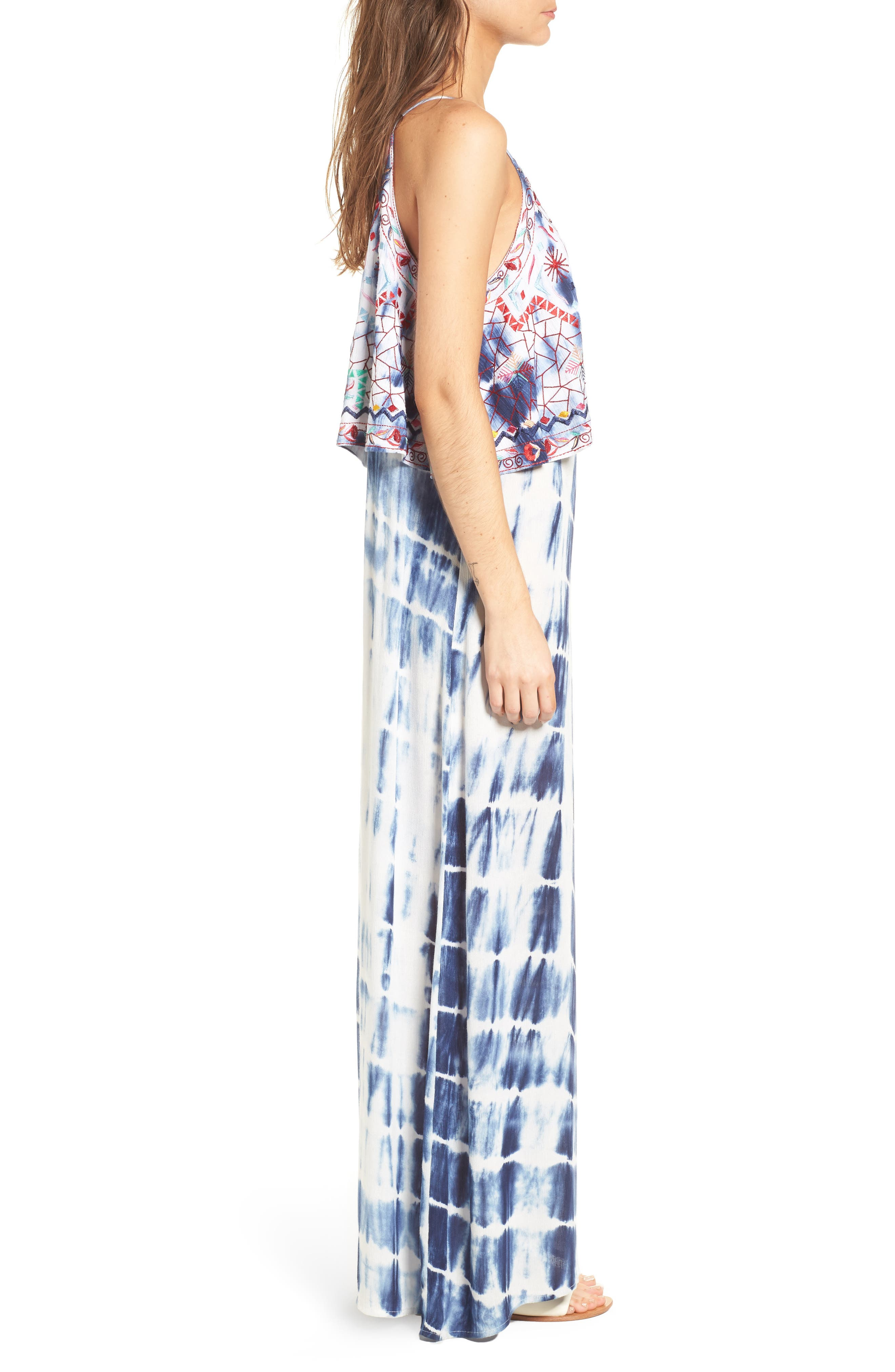 Catching The Waves Embroidered Maxi Dress,                             Alternate thumbnail 3, color,