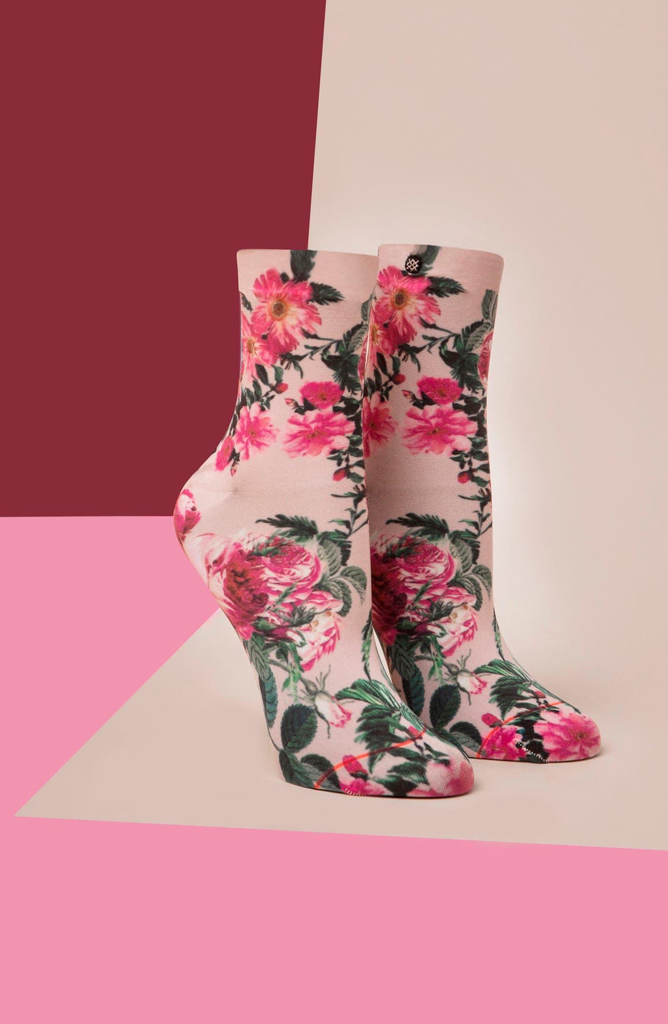 May Flowers Ankle Socks,                             Alternate thumbnail 3, color,                             650
