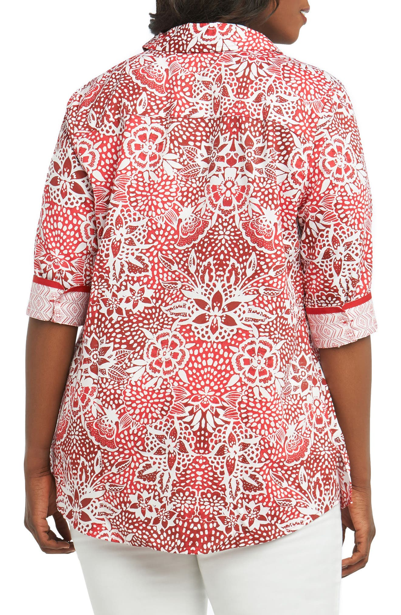 Faith Batik Floral Top,                             Alternate thumbnail 2, color,                             REGATTA RED