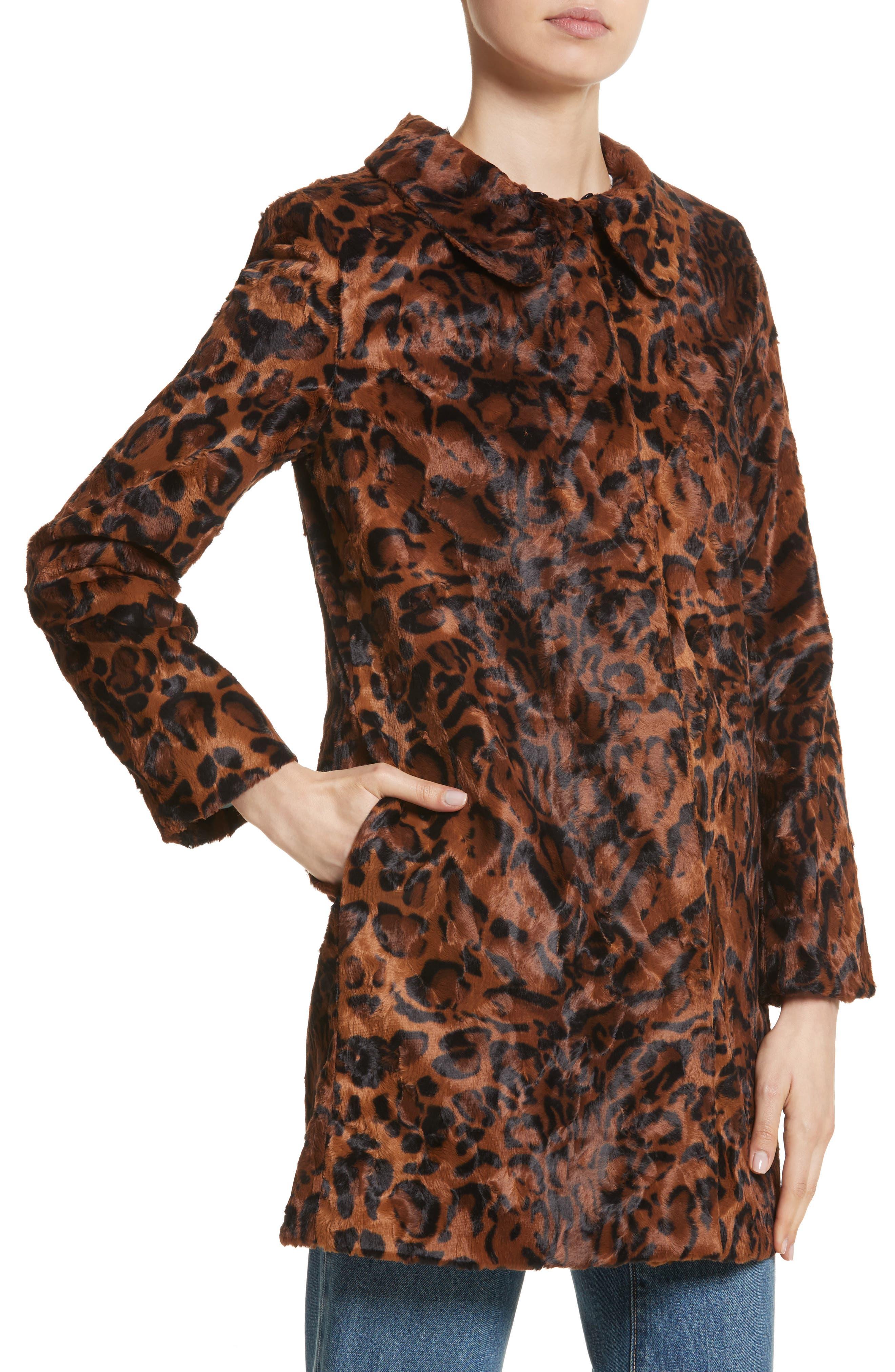 Papa Puss Leopard Print Faux Fur Coat,                             Alternate thumbnail 4, color,                             200