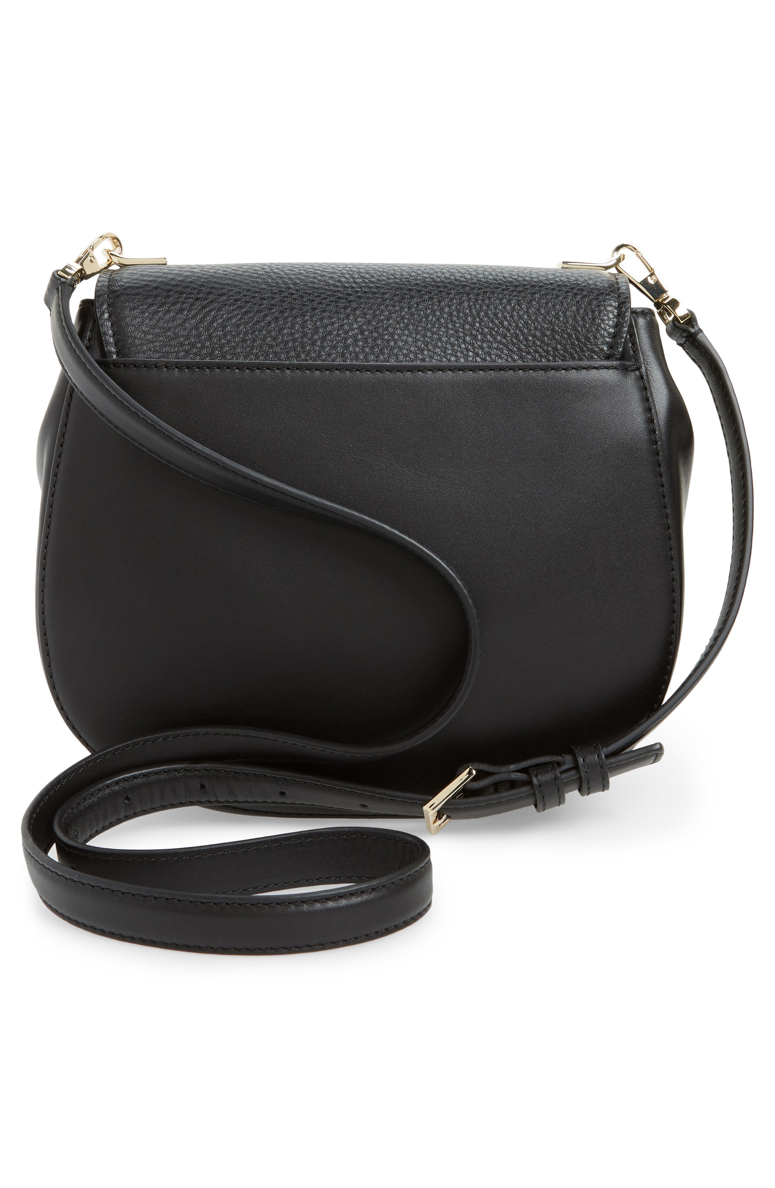 madison stewart street - byrdie studded leather crossbody bag,                             Alternate thumbnail 3, color,                             001