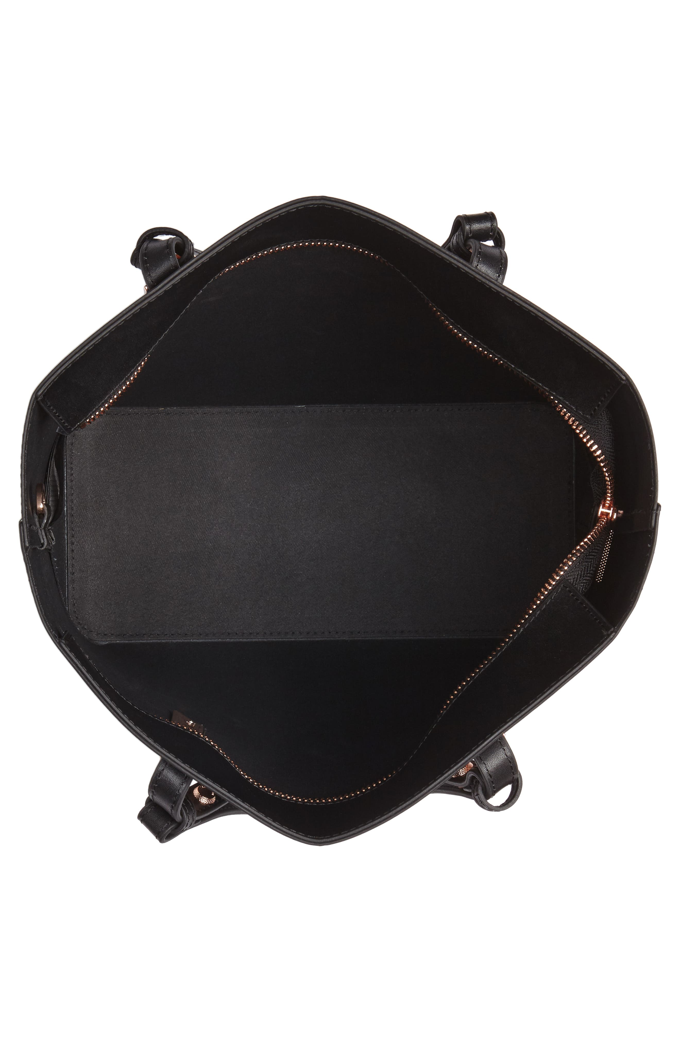 Jaceyy Adjustable Handle Leather Shopper,                             Alternate thumbnail 4, color,                             001
