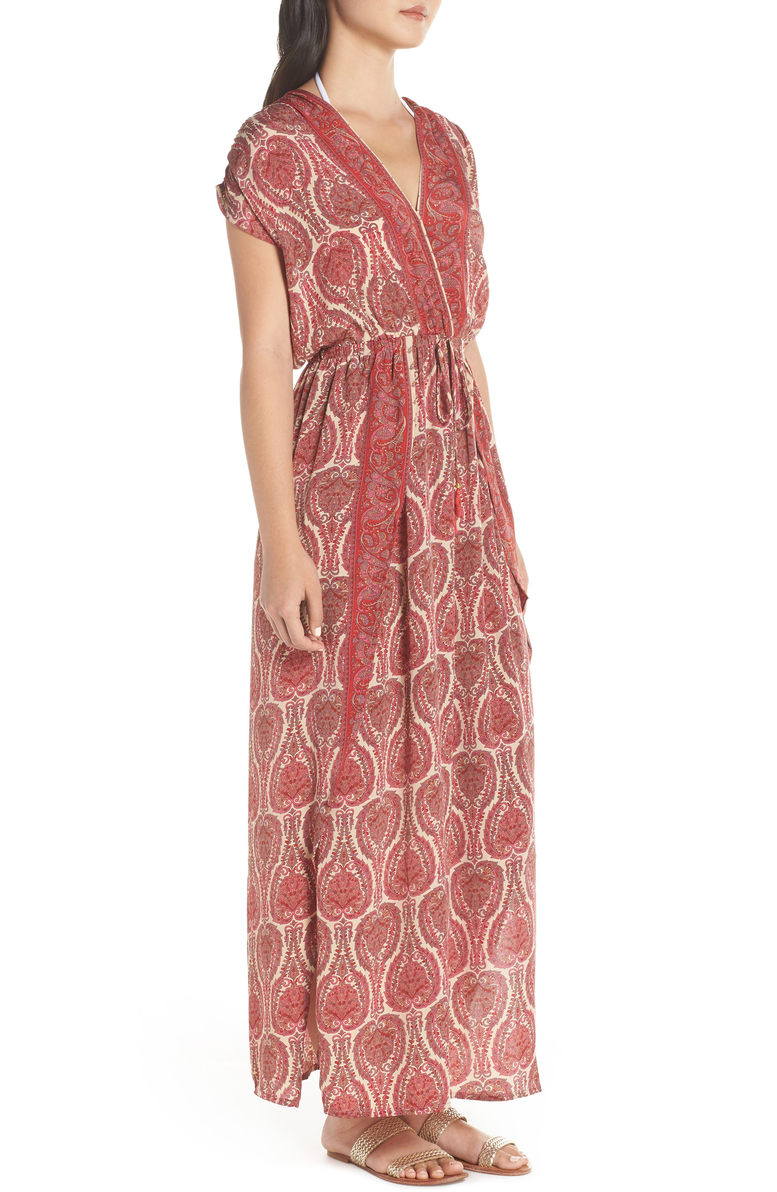 Wrap Maxi Cover-Up Dress,                             Alternate thumbnail 3, color,                             PAISLEY CORAL