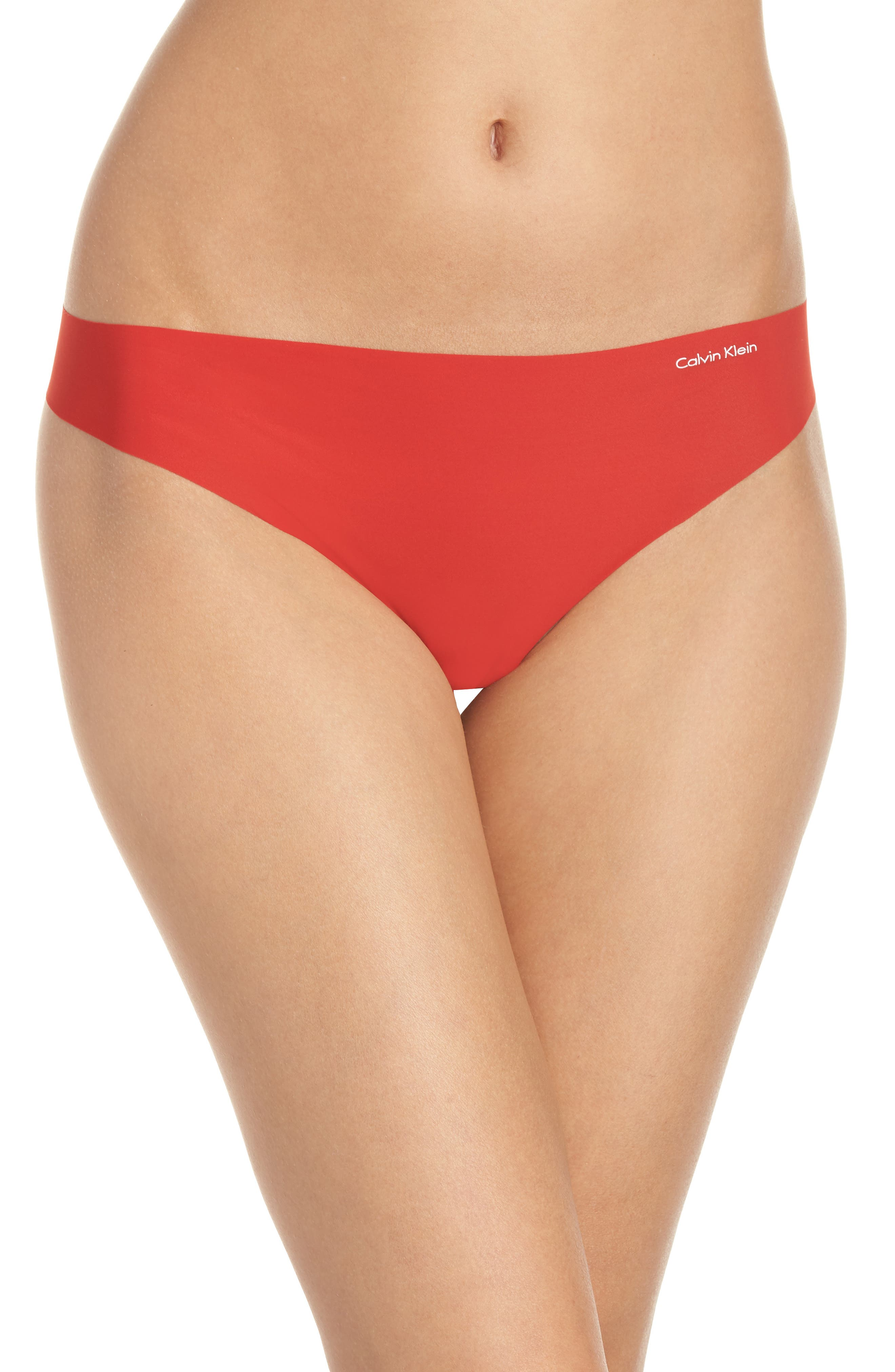 'Invisibles' Thong,                             Alternate thumbnail 2, color,                             MANIC RED