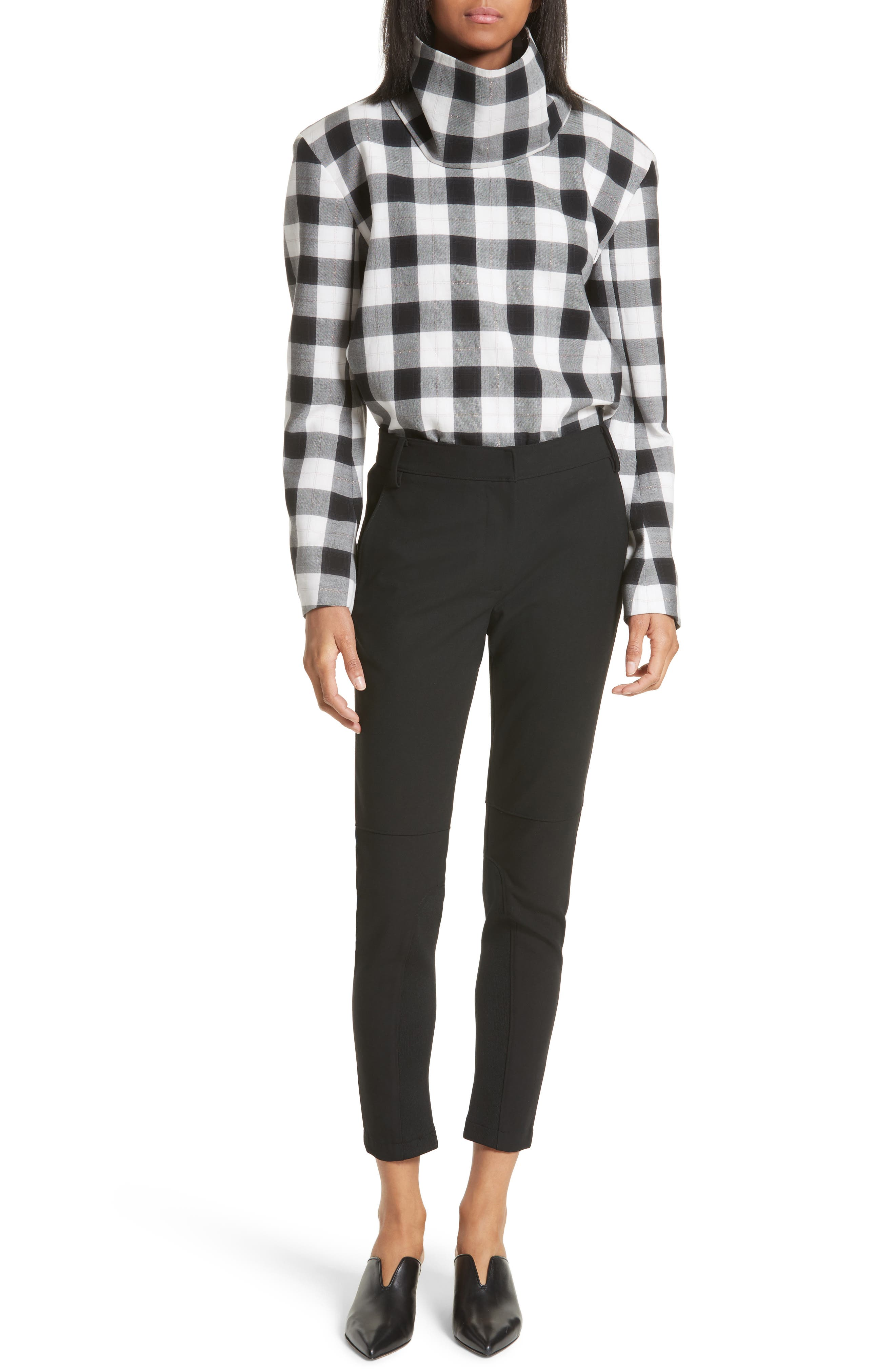 Tess Plaid Top with Detachable Collar,                             Alternate thumbnail 6, color,                             001