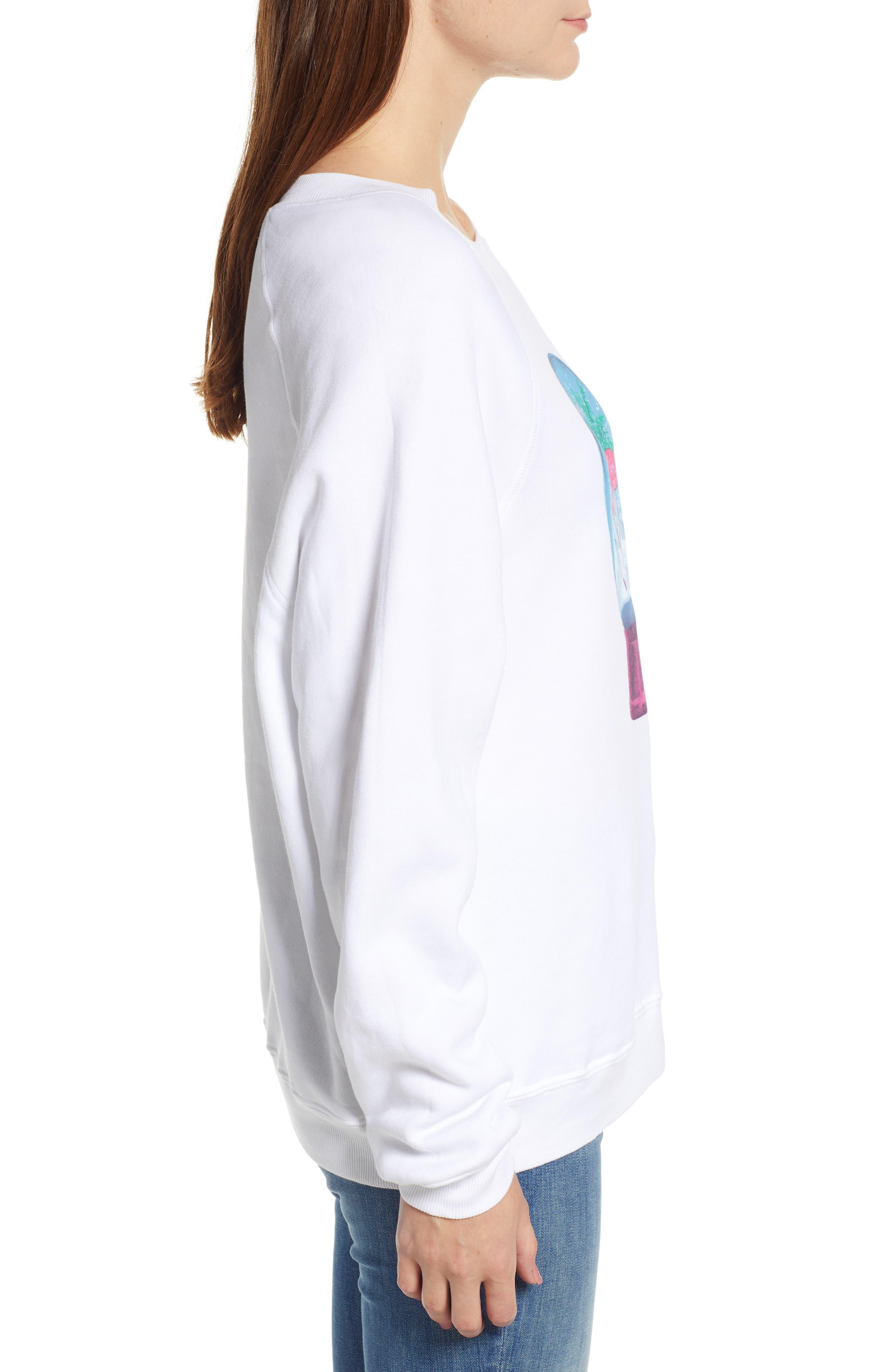 Snowy Tropics Sommers Sweatshirt,                             Alternate thumbnail 3, color,                             CLEAN WHITE