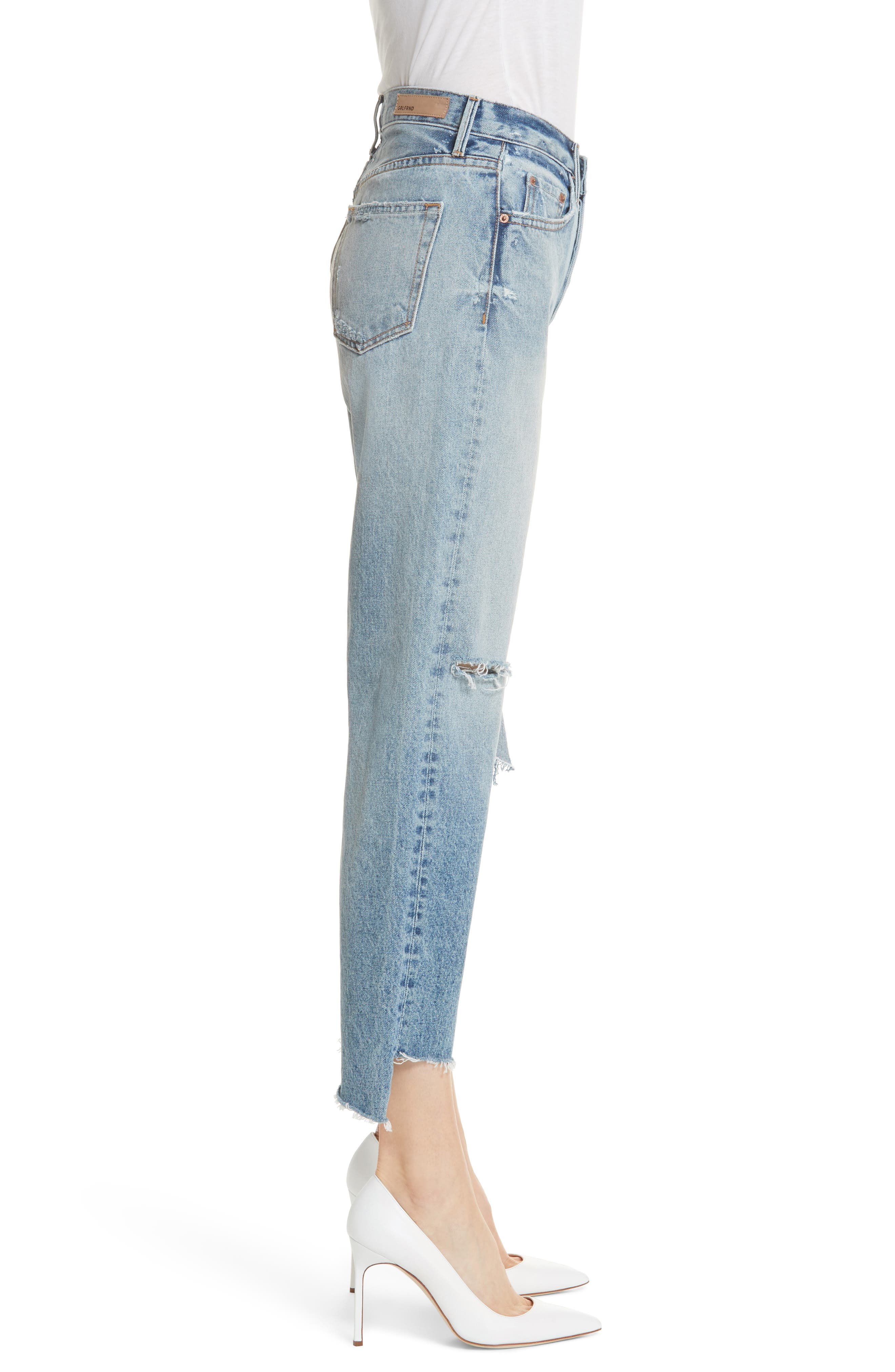 Helena Ripped Rigid High Waist Straight Jeans,                             Alternate thumbnail 3, color,                             470