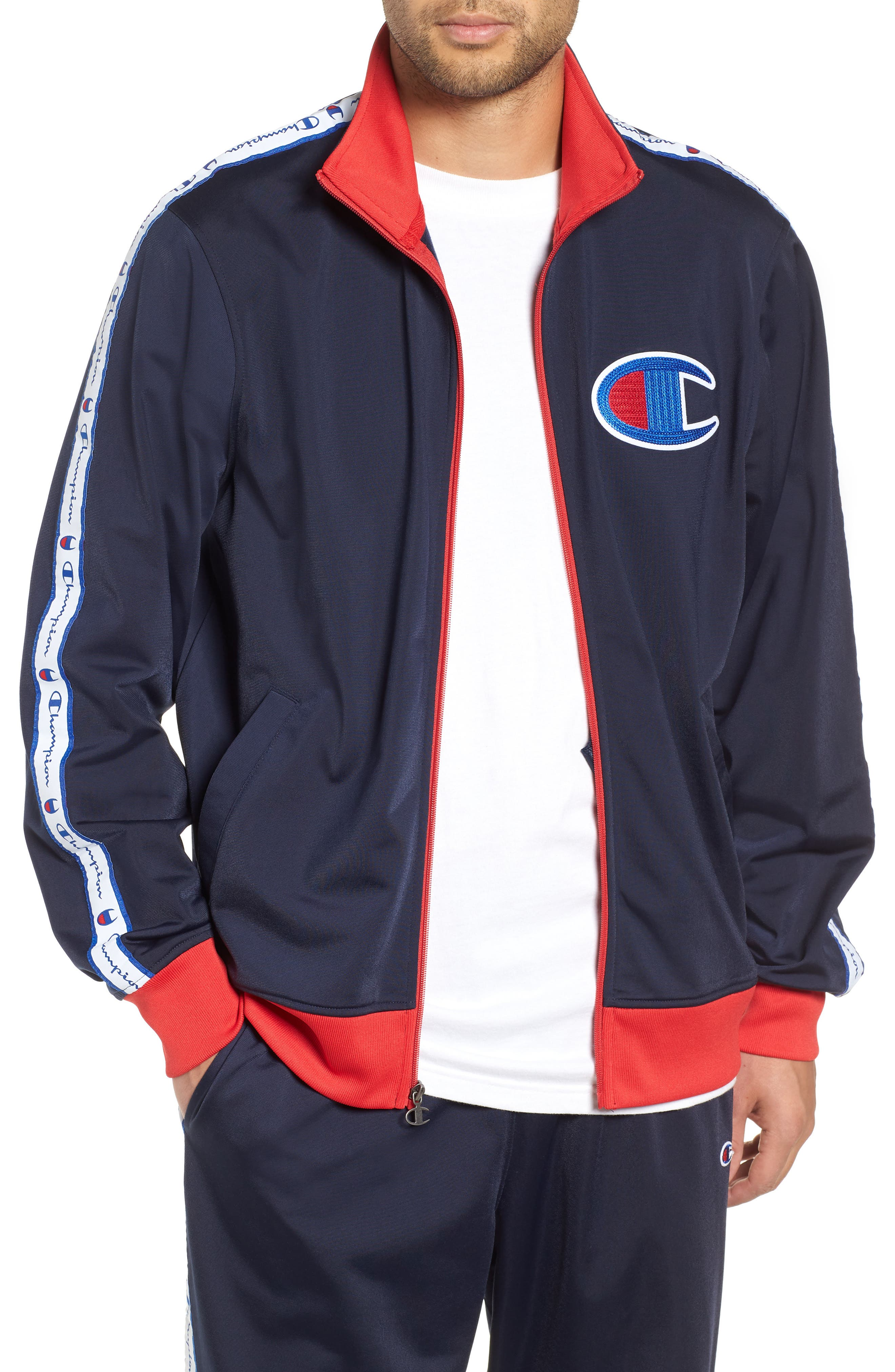 Track Jacket,                         Main,                         color, NAVY/ SCARLET