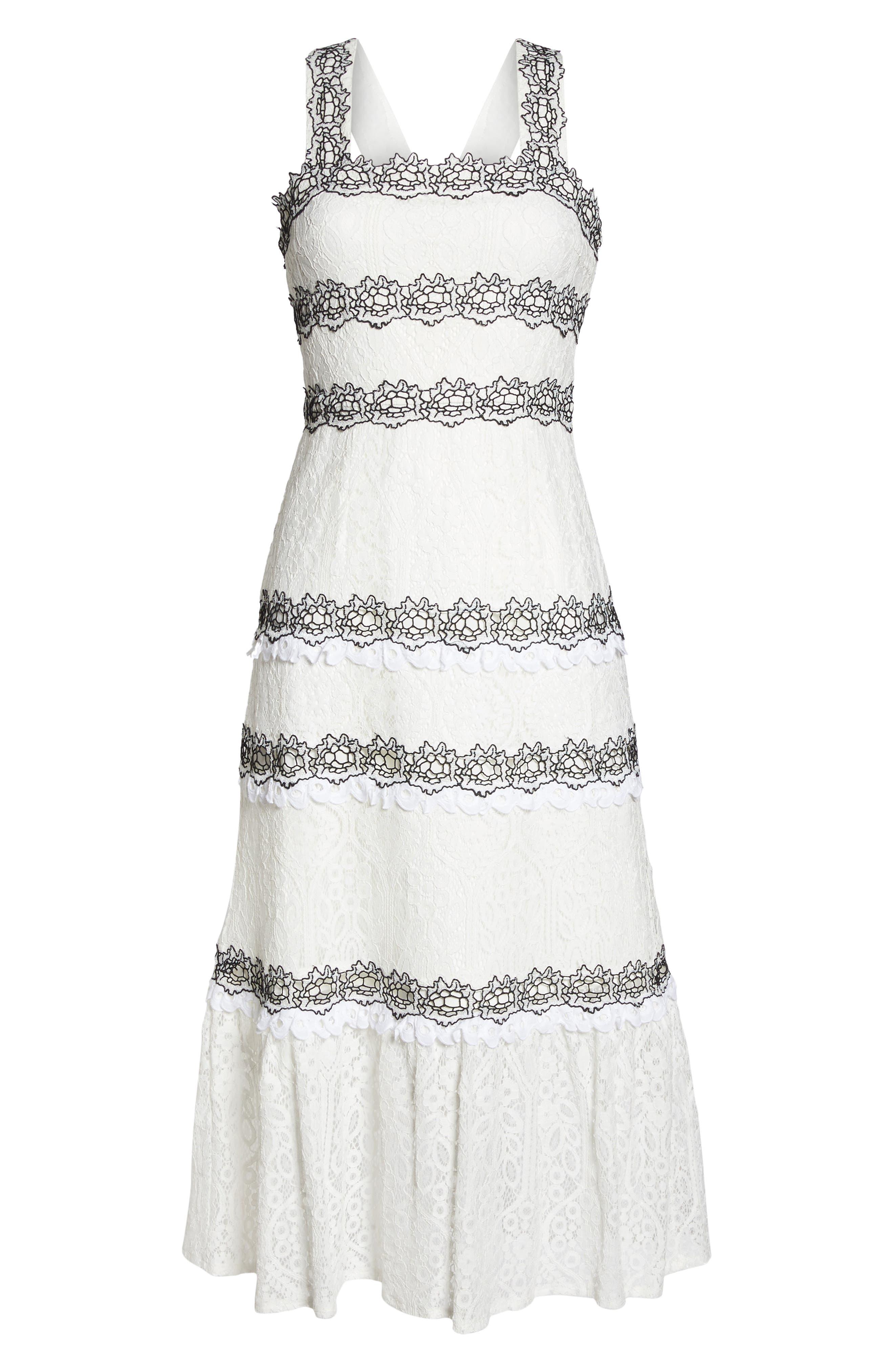 Frances Embroidered Lace Midi Dress,                             Alternate thumbnail 7, color,                             102