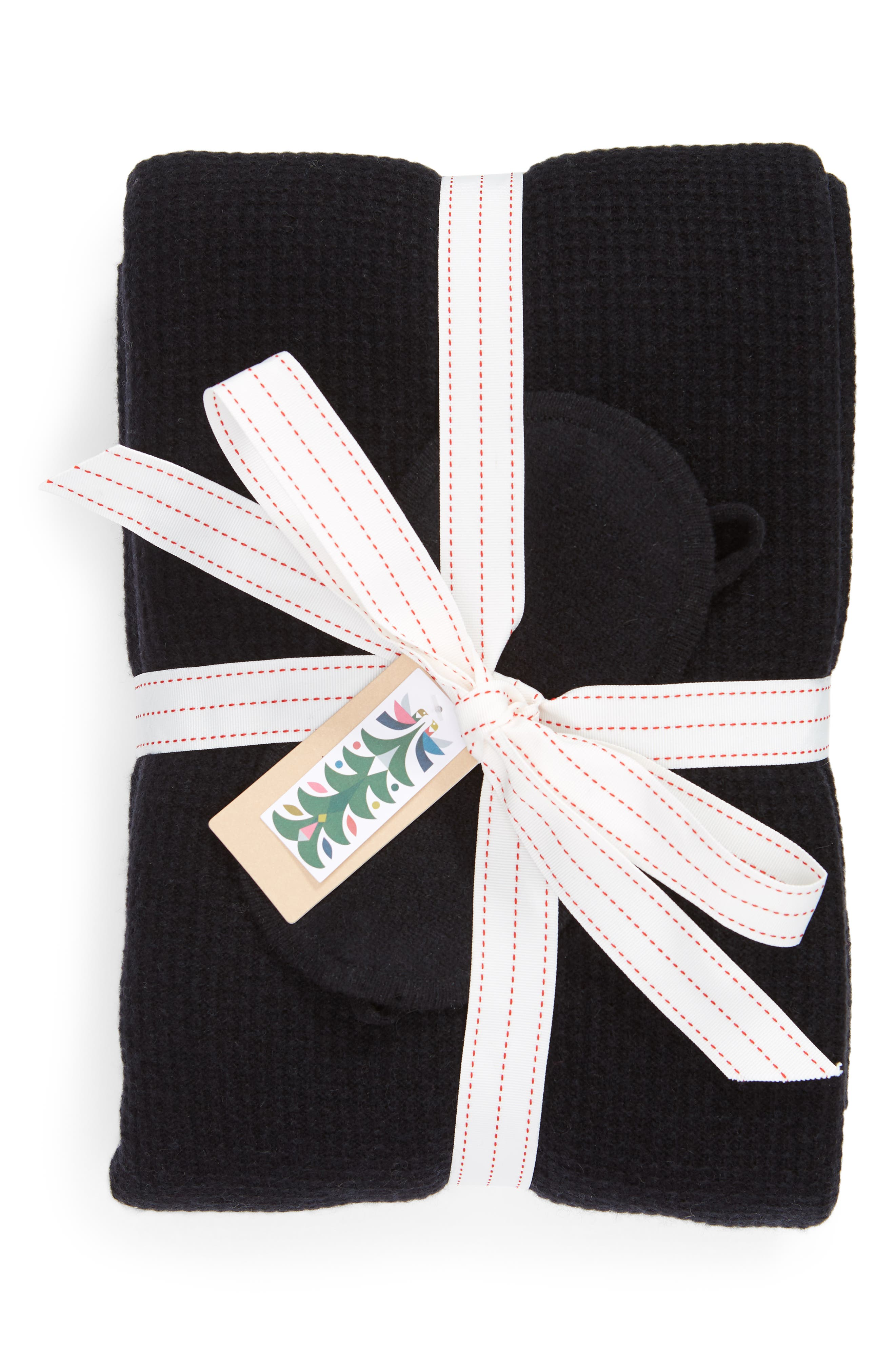 HALOGEN<SUP>®</SUP>,                             Wool & Cashmere Eye Mask & Travel Wrap Gift Set,                             Alternate thumbnail 2, color,                             BLACK