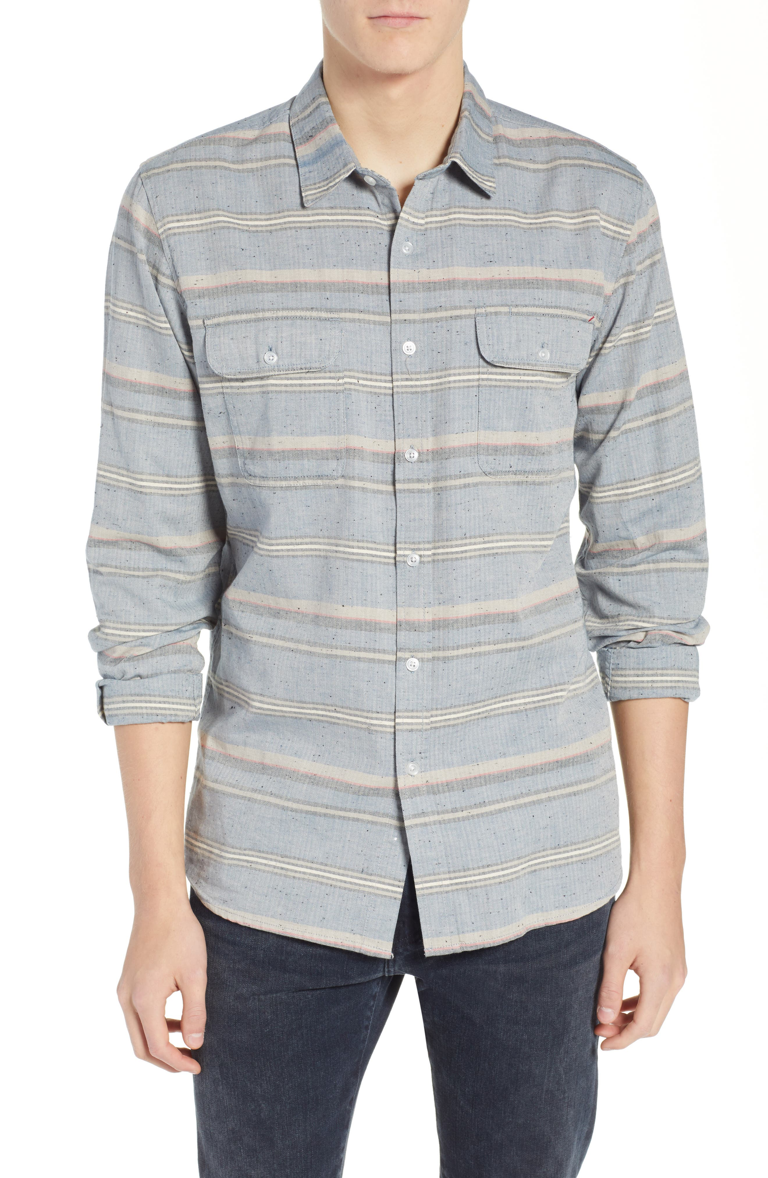 Logan Flannel Shirt,                             Main thumbnail 1, color,                             BLUE