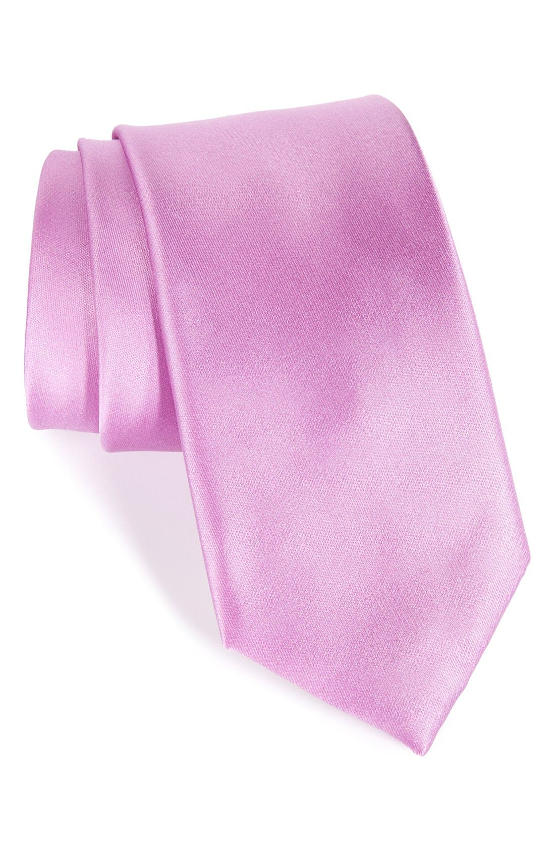 Solid Satin Silk Tie,                             Main thumbnail 12, color,