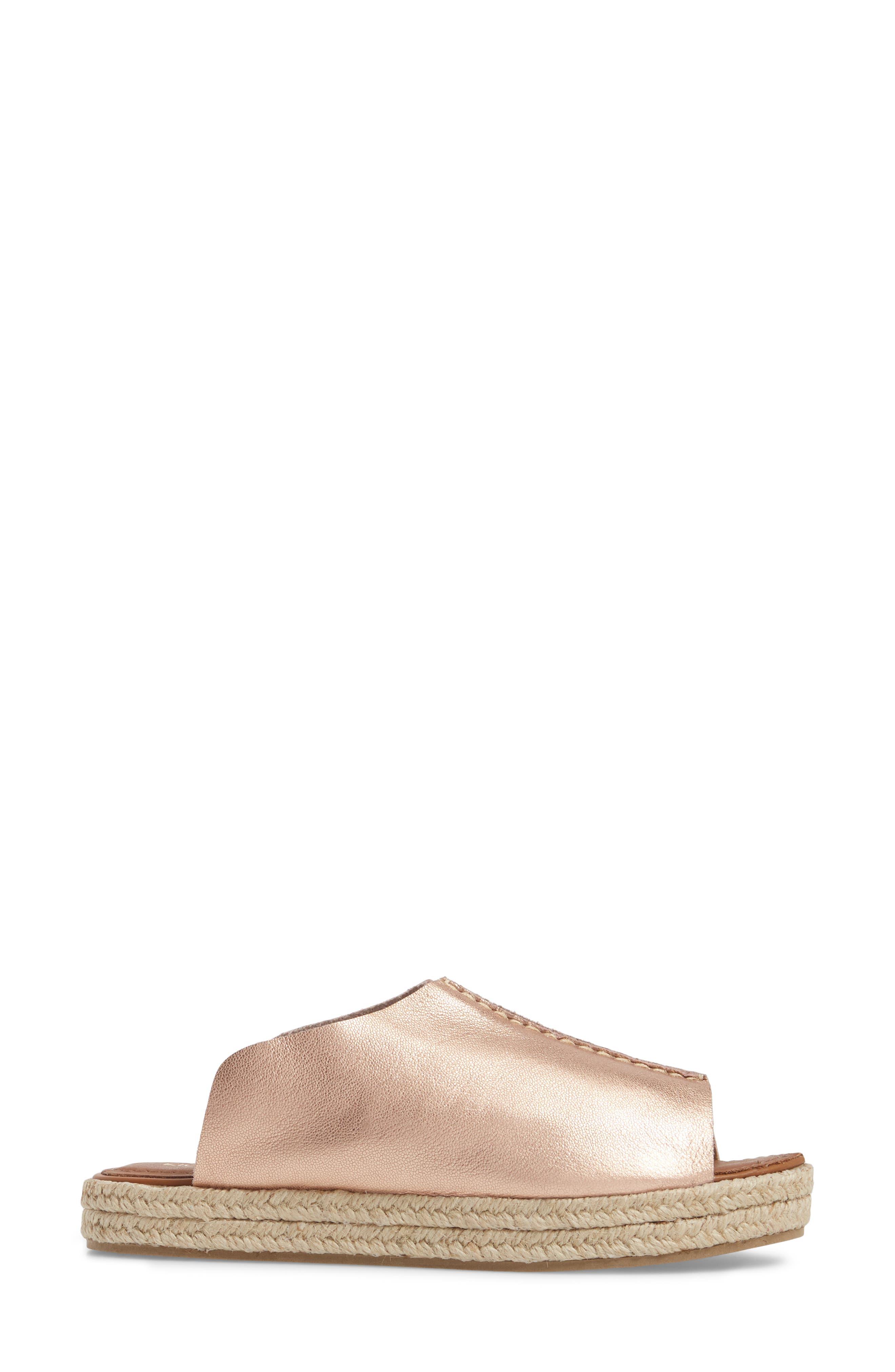Gracey Espadrille Slide Sandal,                             Alternate thumbnail 3, color,                             ROSE LEATHER