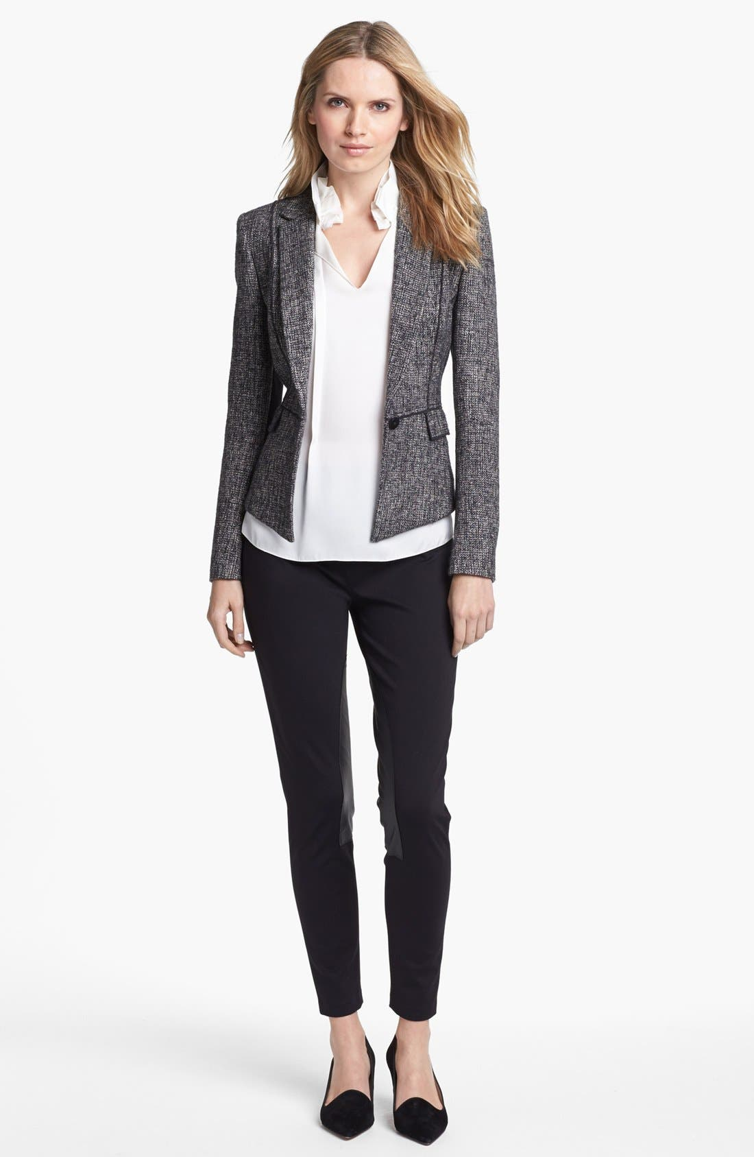'Minka' Metallic Tweed Jacket,                             Alternate thumbnail 4, color,                             002