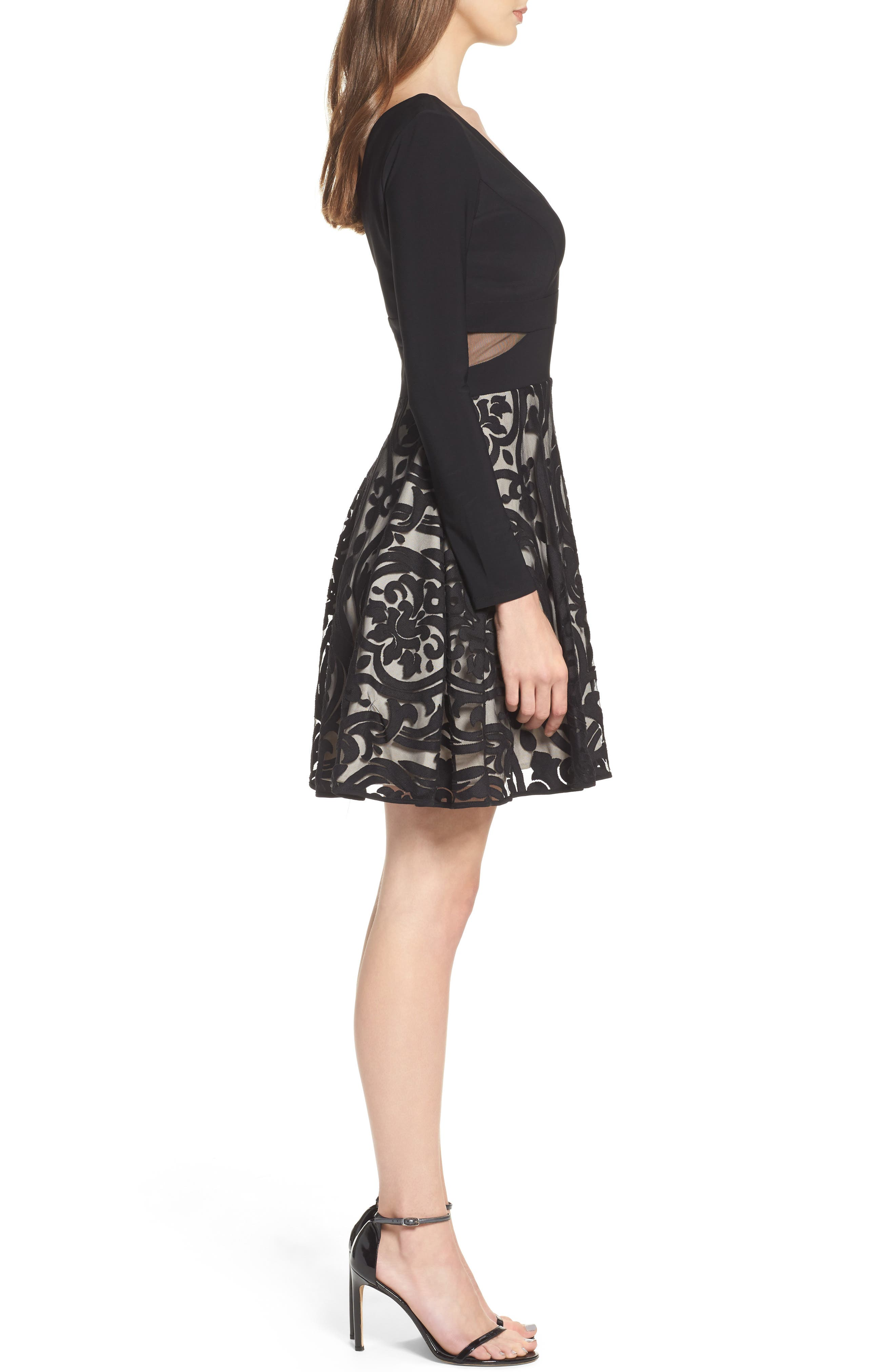 Embroidered Jersey Party Dress,                             Alternate thumbnail 3, color,                             BLACK/ STONE