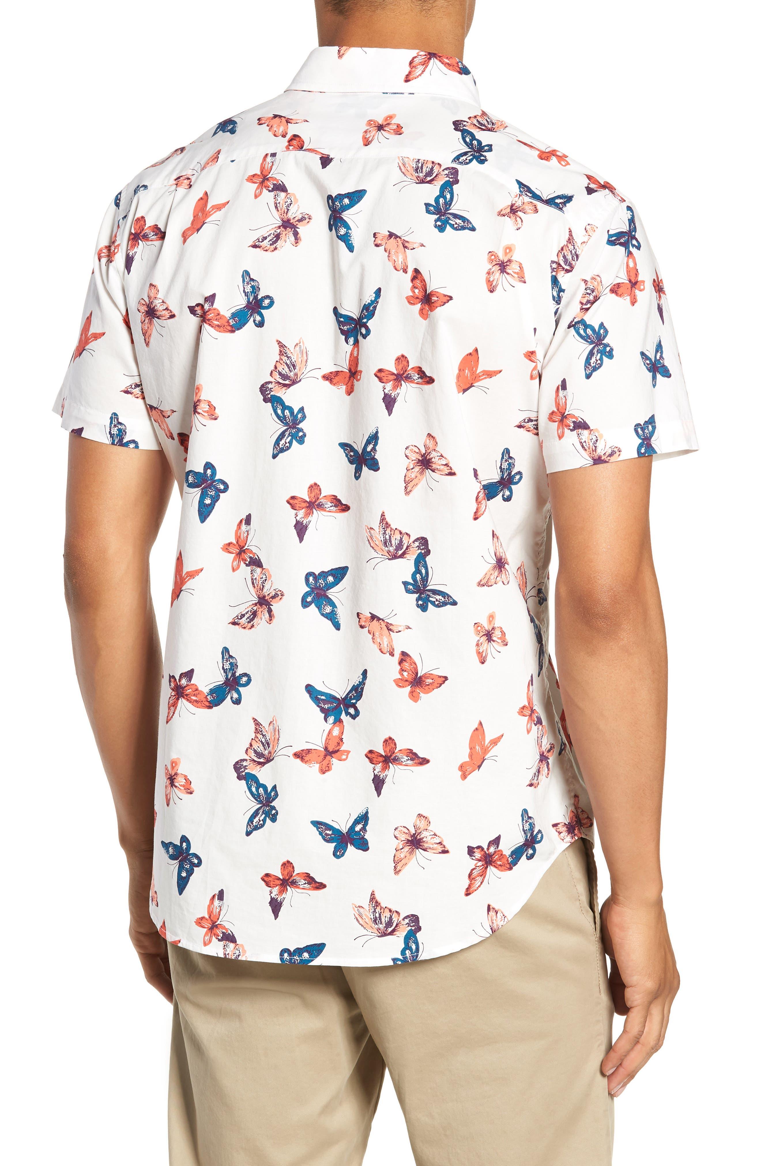 Riviera Butterfly Print Sport Shirt,                             Alternate thumbnail 3, color,                             100