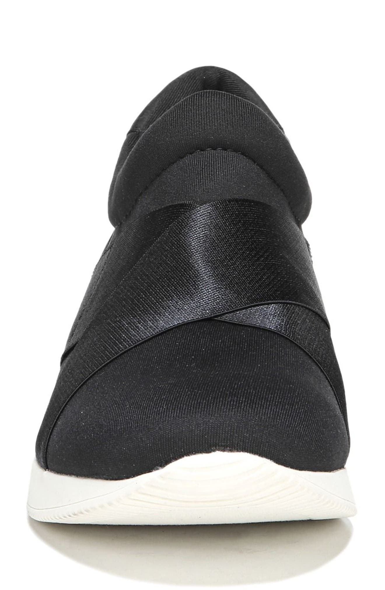 Joni Slip-On Sneaker,                             Alternate thumbnail 4, color,                             BLACK FABRIC