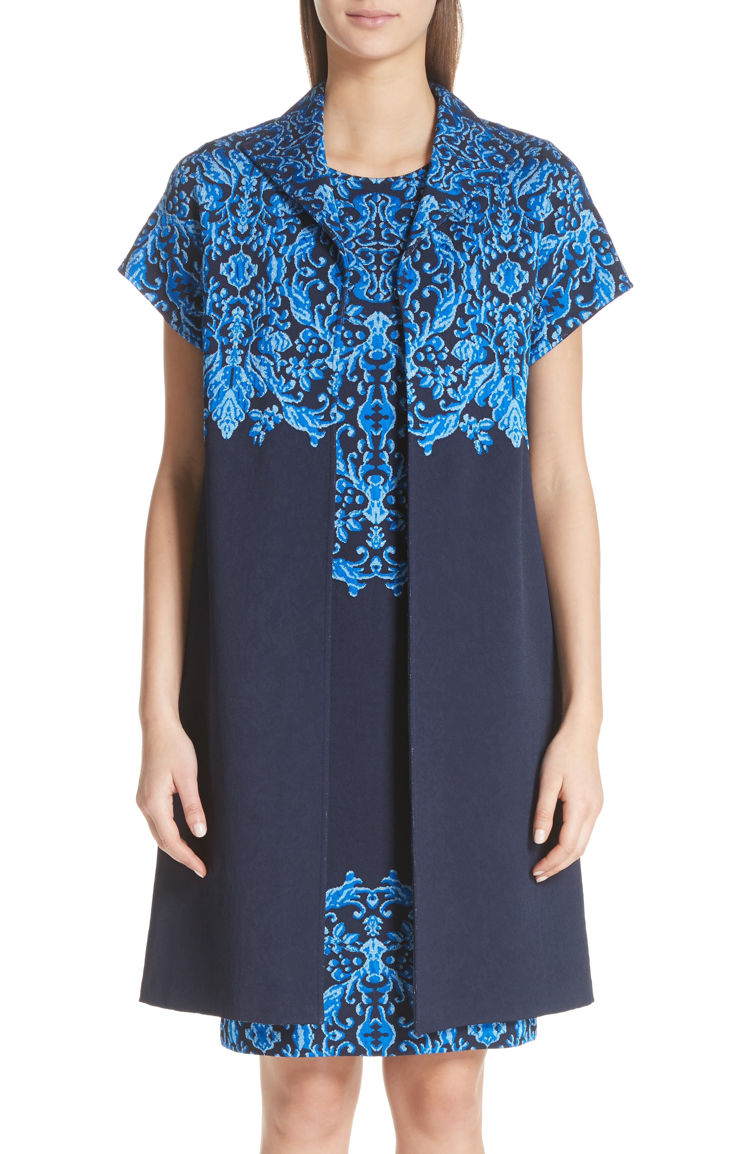Cool Tones Brocade Knit Jacket,                         Main,                         color, COBALT MULTI