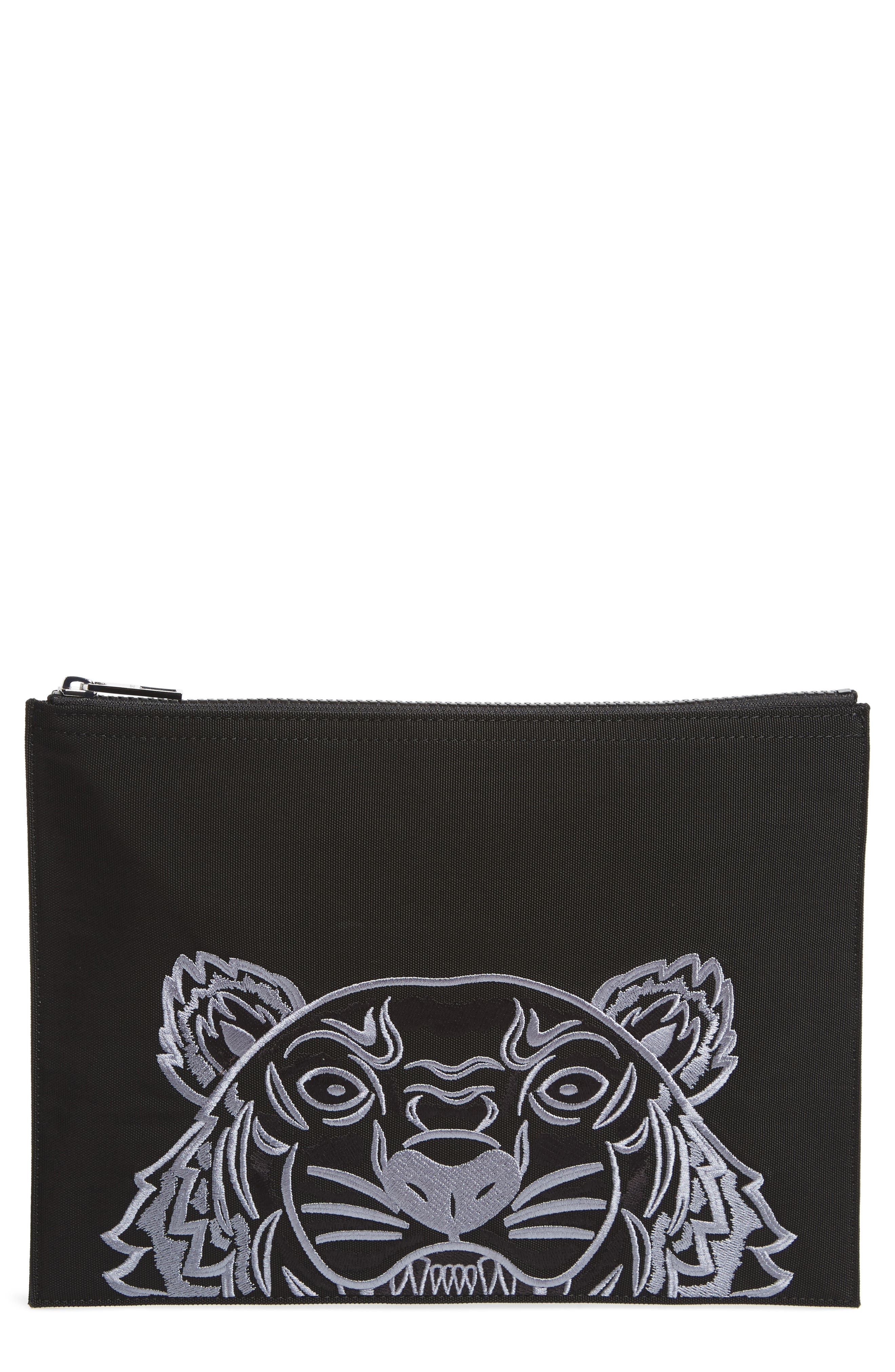 Kanvas Tiger Embroidered A4 Pouch,                         Main,                         color,