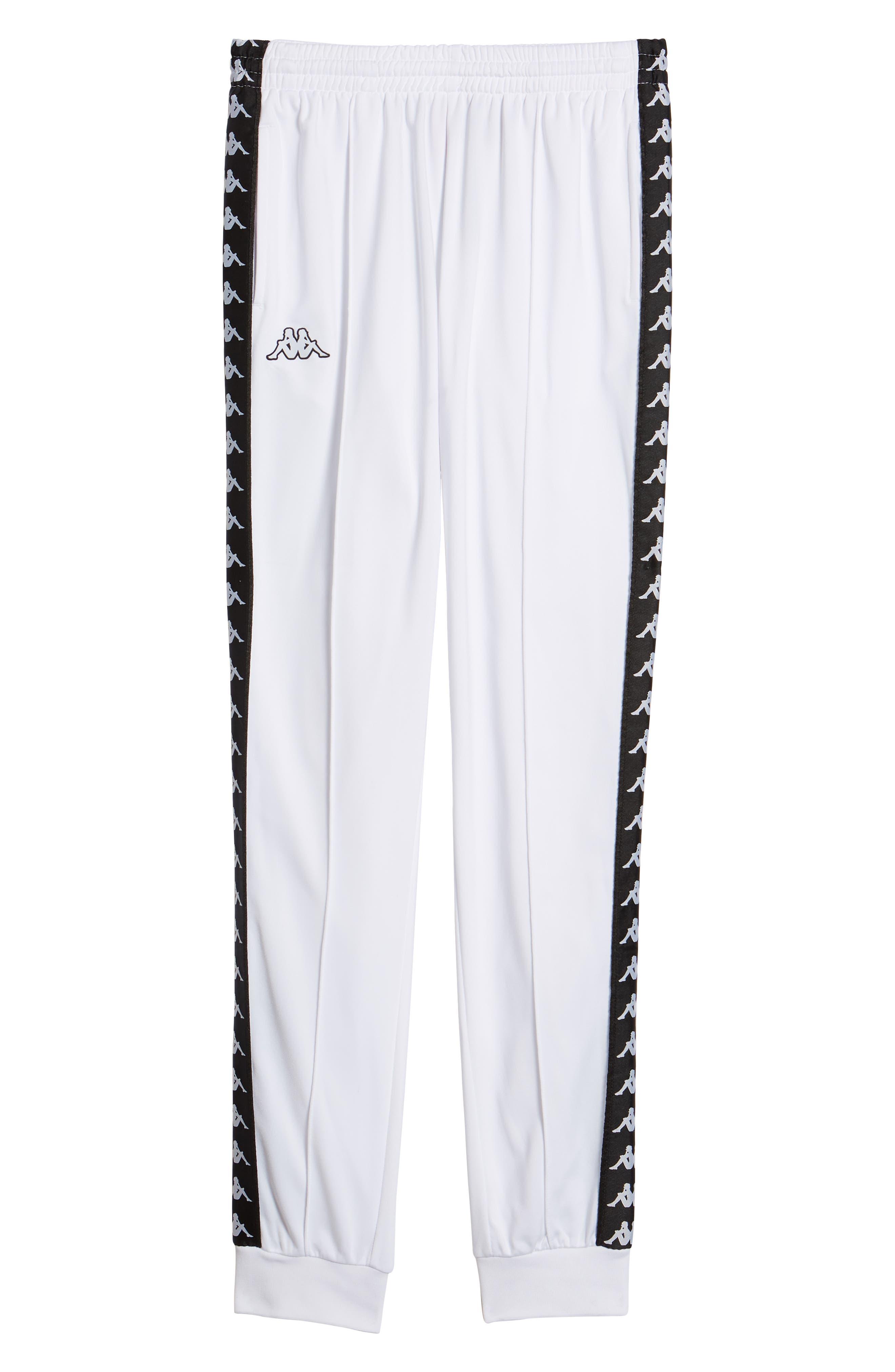 Active Banded Track Pants,                             Alternate thumbnail 6, color,                             WHITE/ BLACK