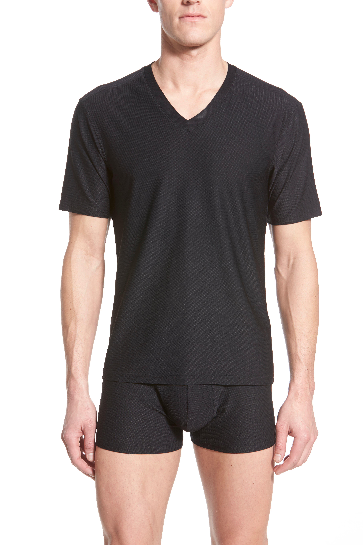 'Give-N-Go' Mesh V-Neck T-Shirt,                             Alternate thumbnail 4, color,                             BLACK
