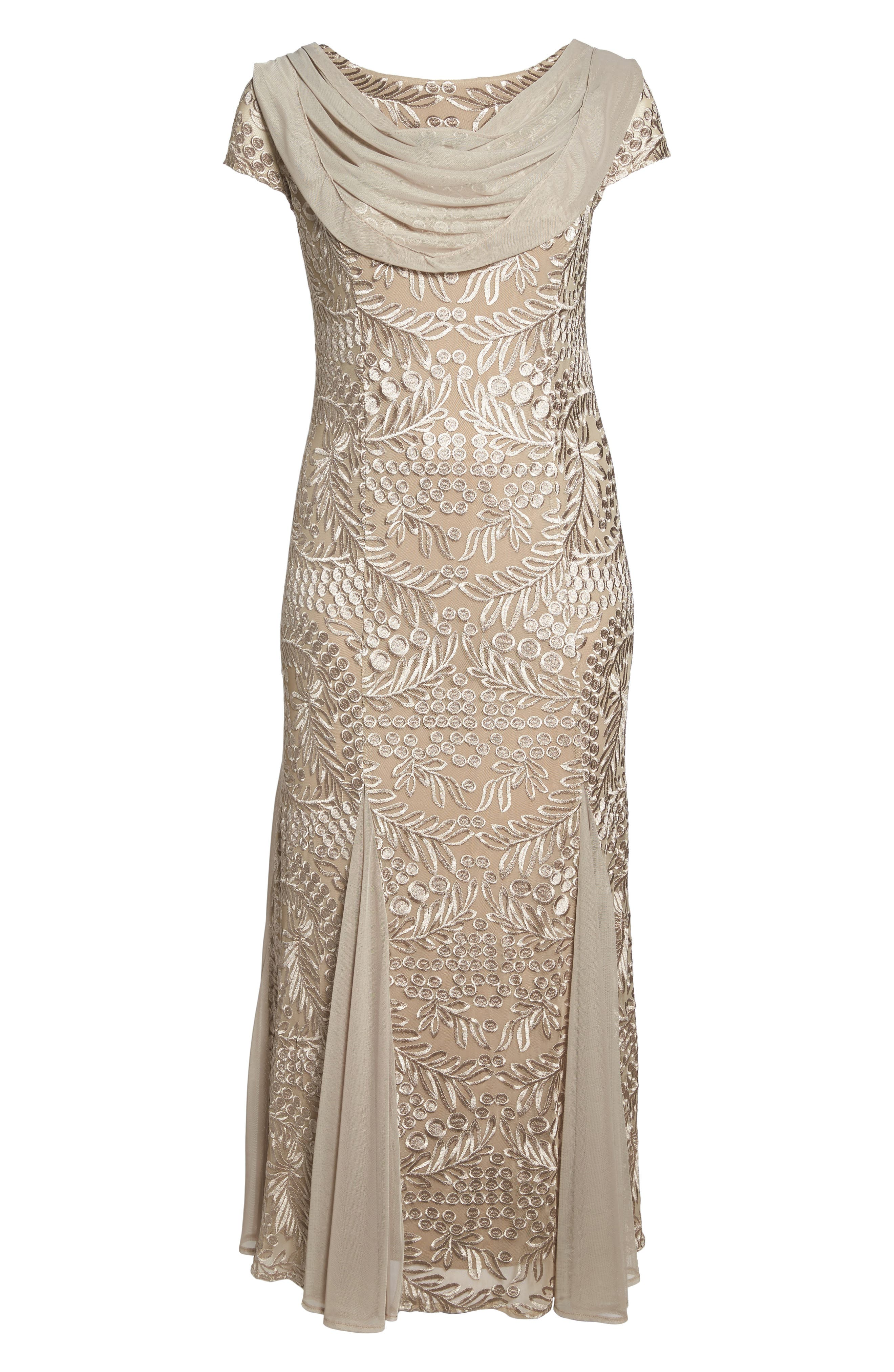 Cowl Back Embroidered Lace Gown,                             Alternate thumbnail 6, color,                             026