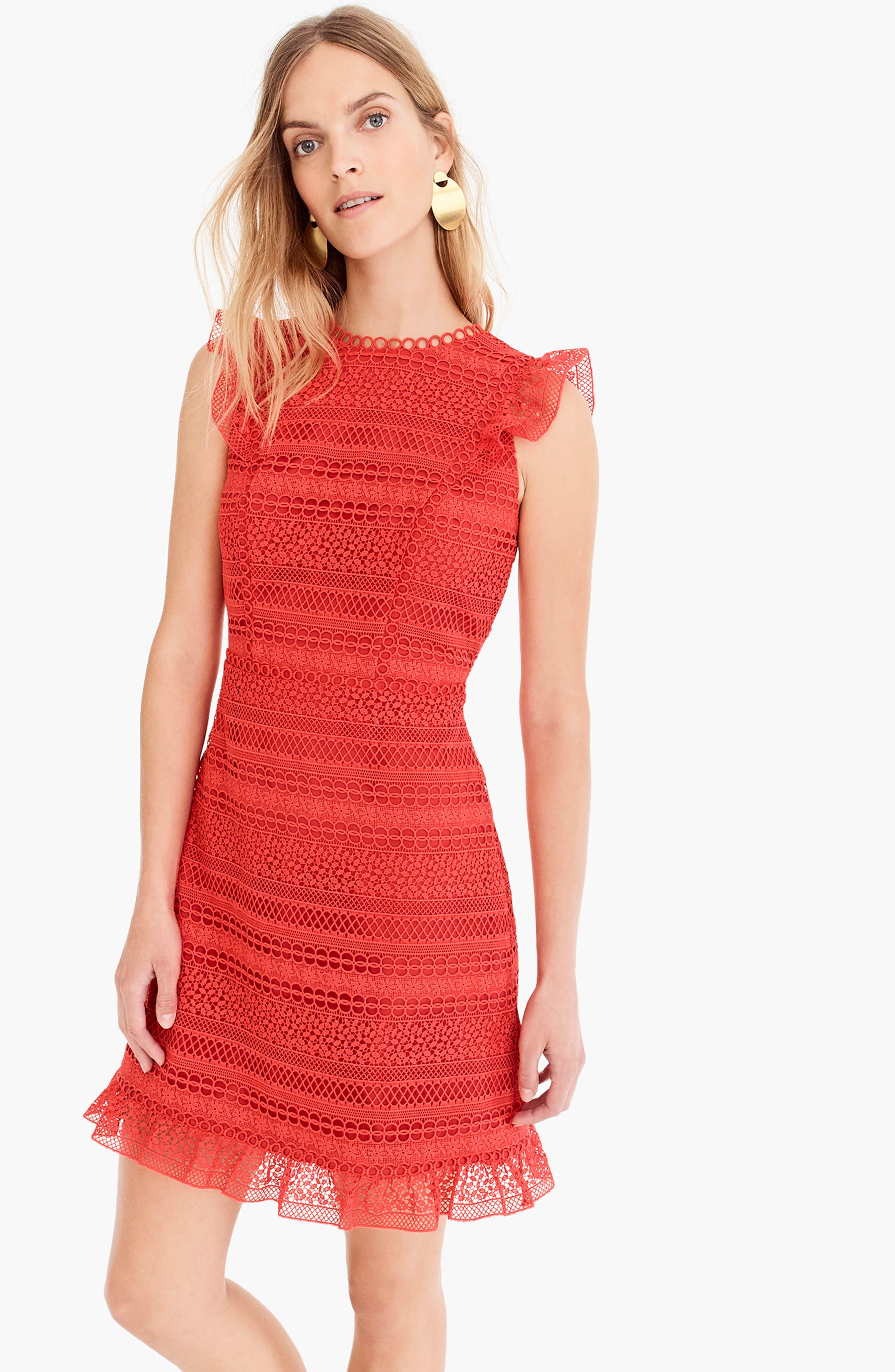 Cap Sleeve Ruffle Lace Dress,                             Alternate thumbnail 5, color,                             BRIGHT CERISE