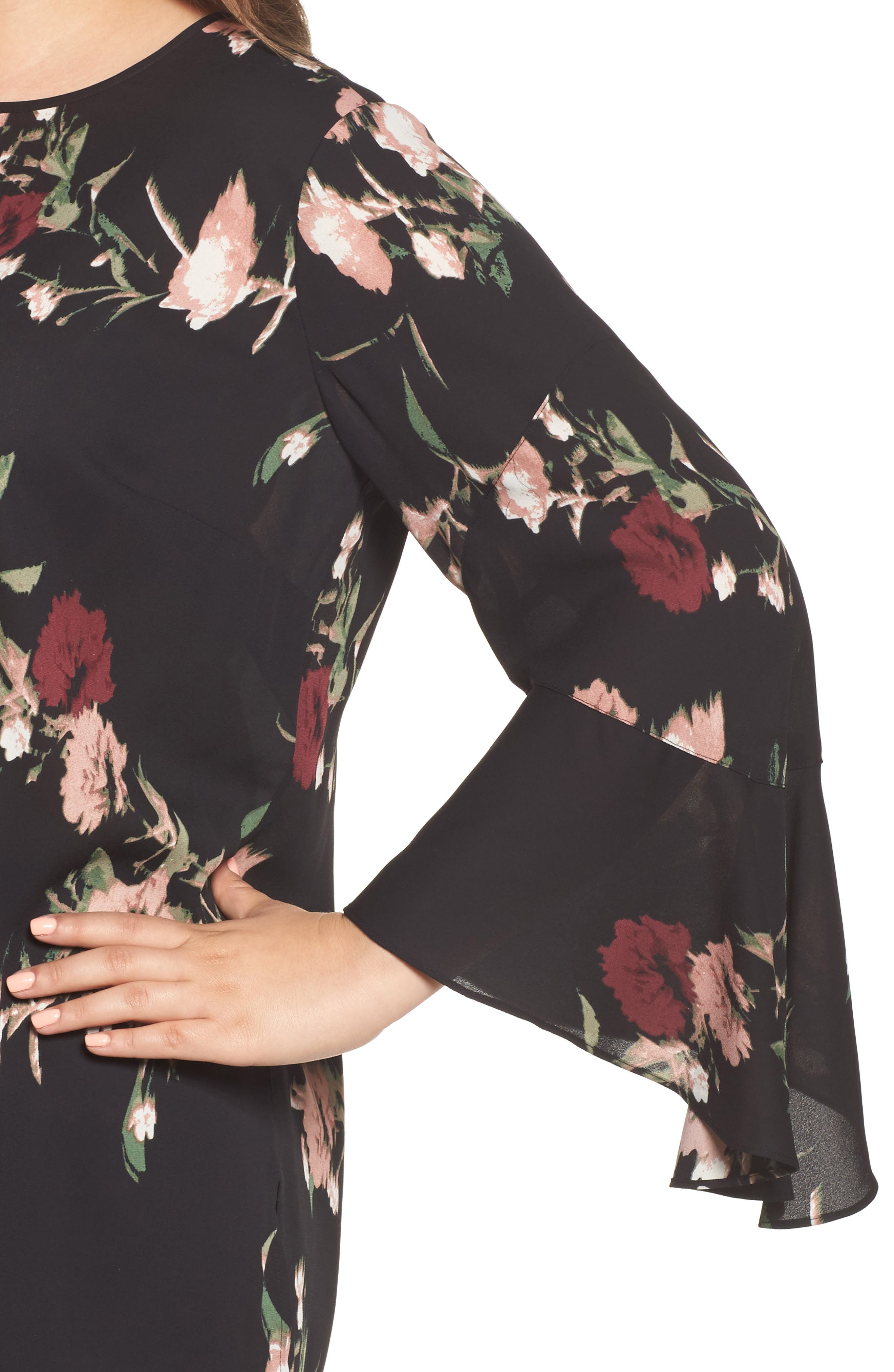 Windswept Bouquet Bell Sleeve Blouse,                             Alternate thumbnail 4, color,                             001