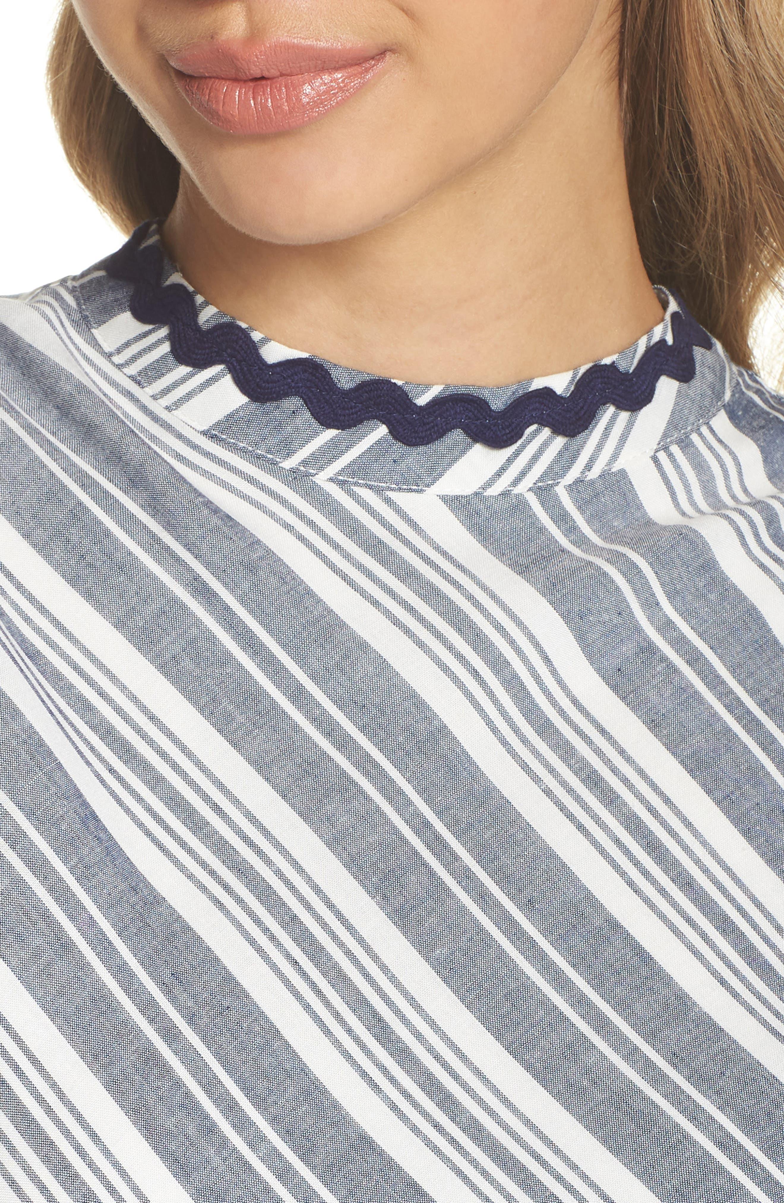 Sleeveless Stripe Romper,                             Alternate thumbnail 4, color,                             NAVY