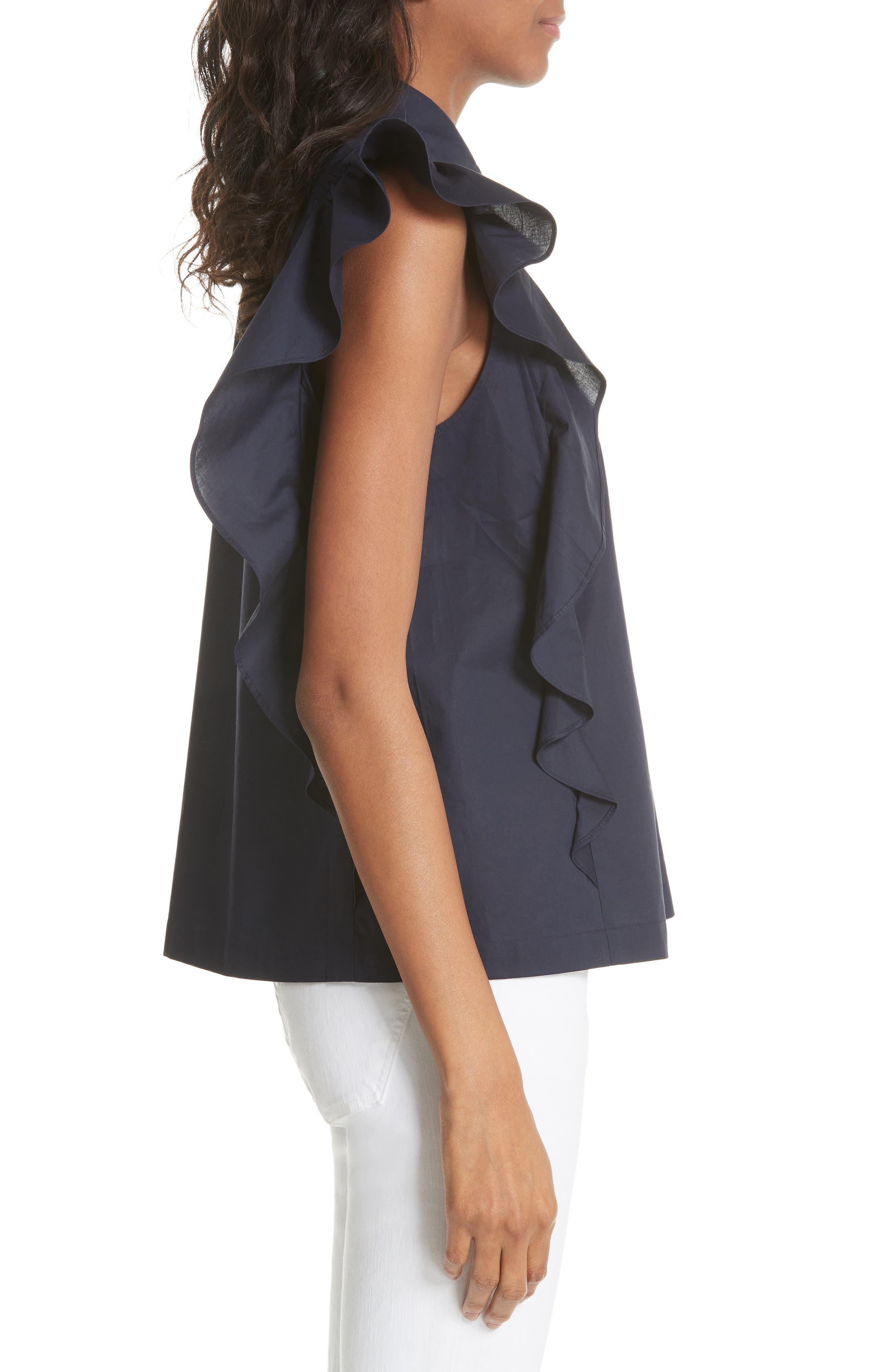 flutter sleeve button down cotton blouse,                             Alternate thumbnail 3, color,
