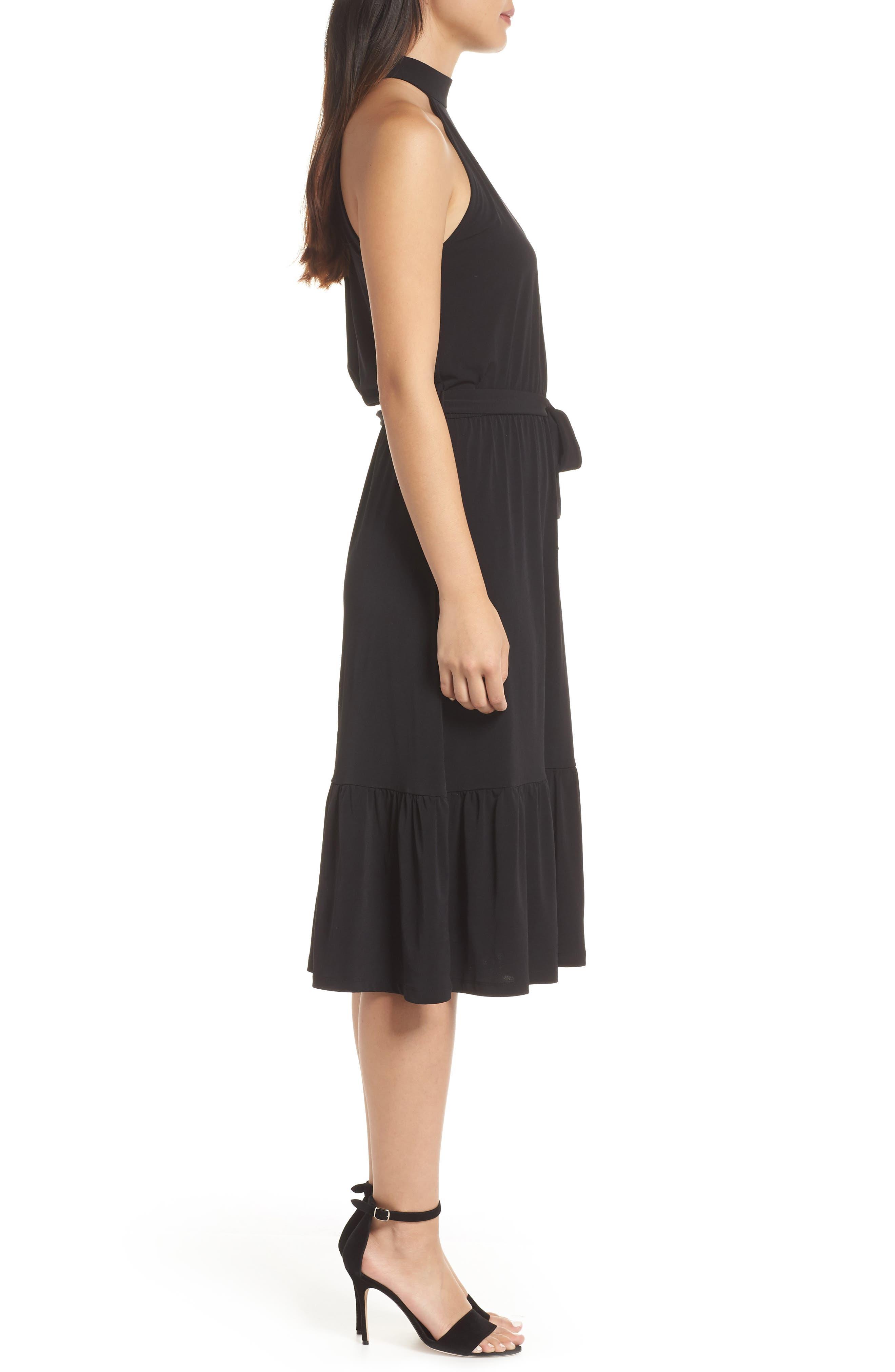 MICHAEL MICHAEL KORS,                             Halter Midi Dress,                             Alternate thumbnail 4, color,                             BLACK