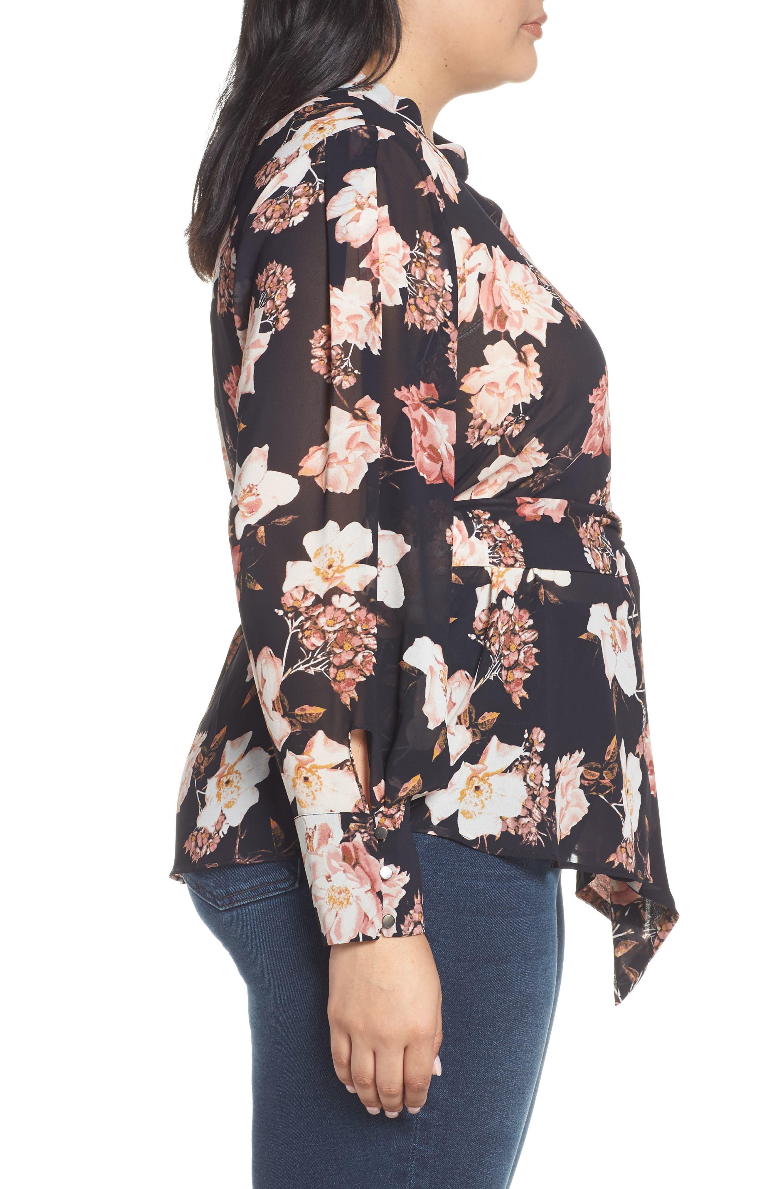 RACHEL ROY COLLECTION,                             Floral Tie Blouse,                             Alternate thumbnail 3, color,                             BLACK COMBO