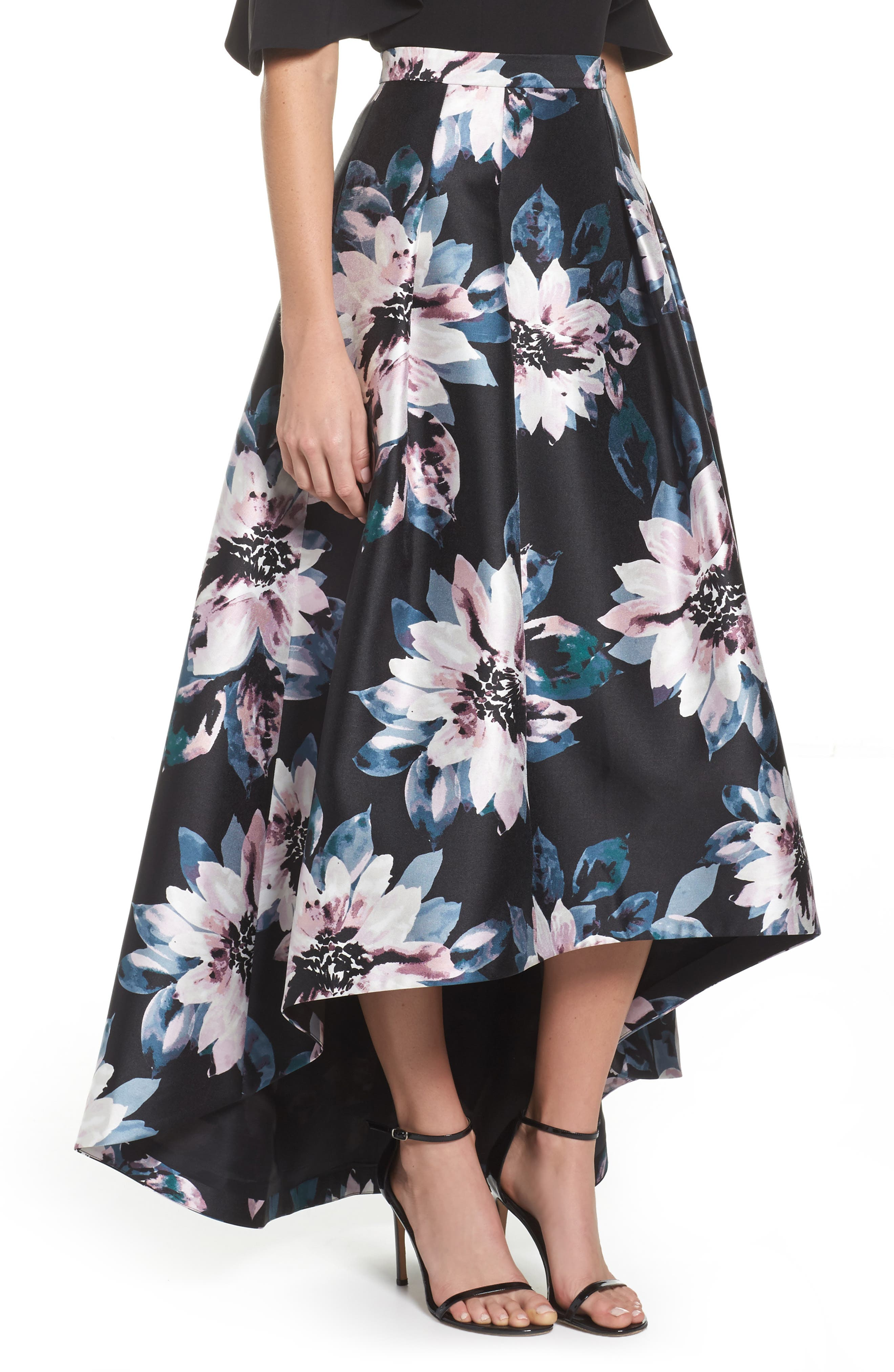 Floral High/Low Skirt,                             Alternate thumbnail 3, color,                             006