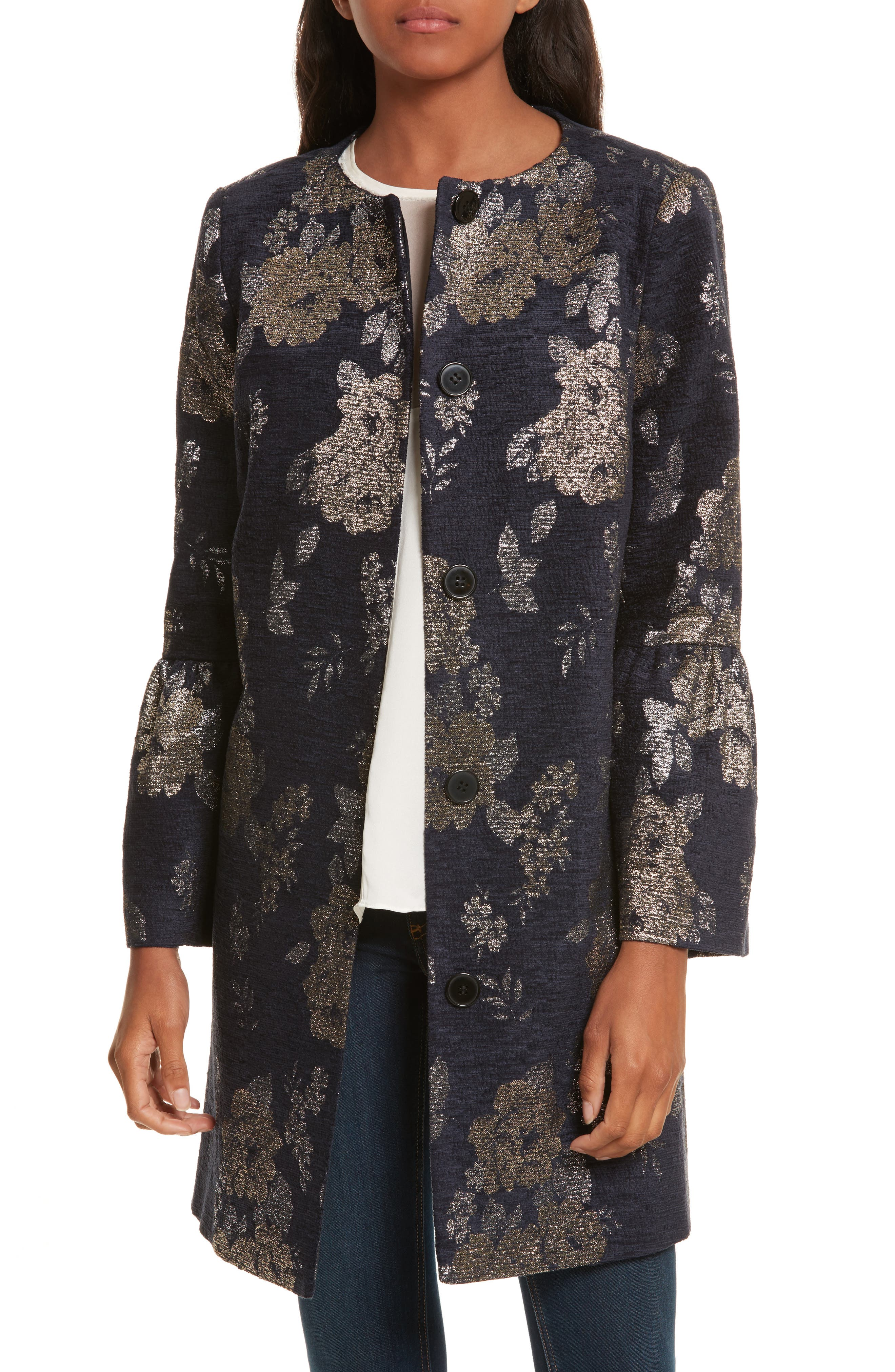 Trumpet Sleeve Brocade Jacket,                         Main,                         color, 400