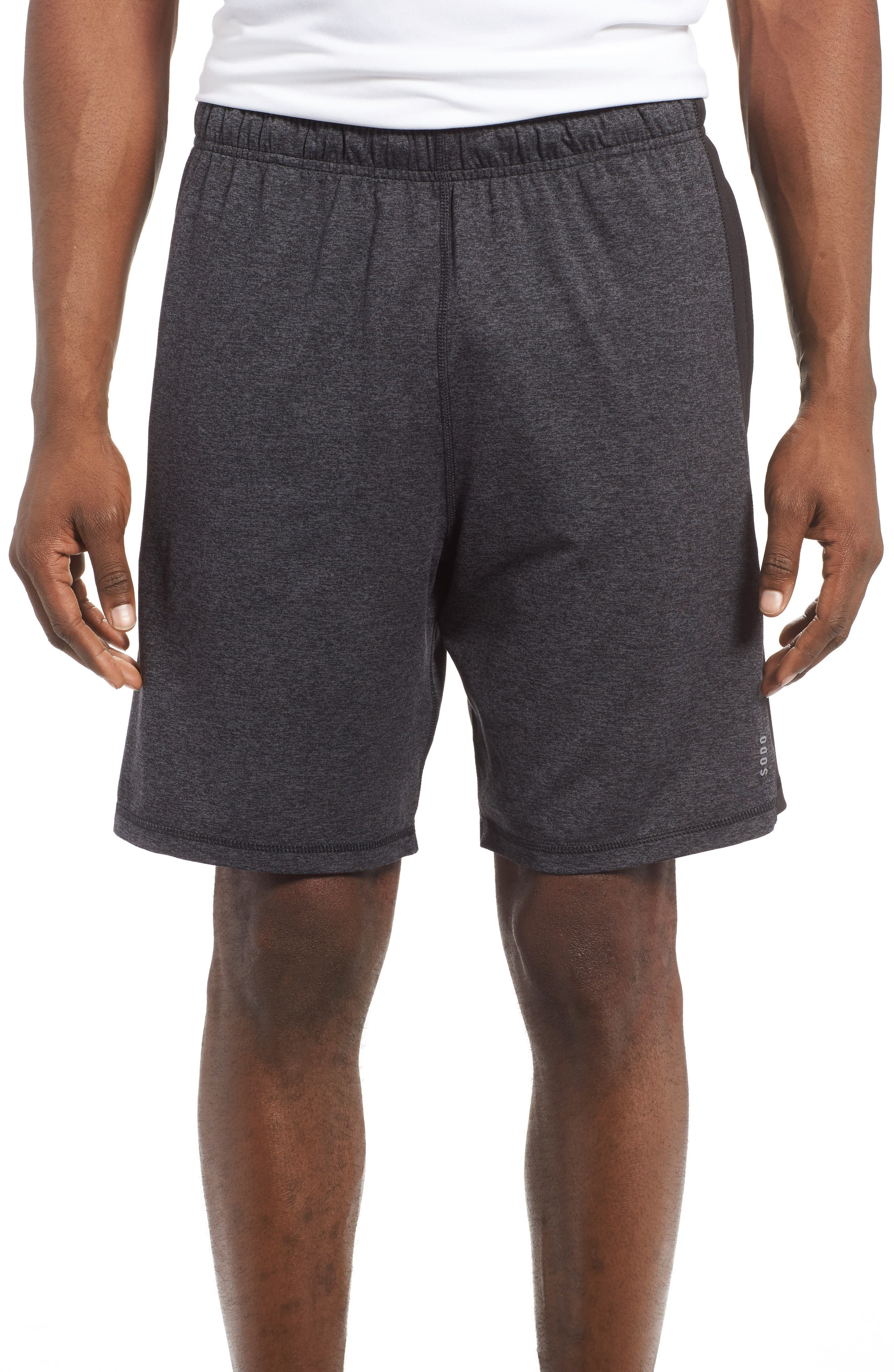 'Go To' Moisture Wicking Stretch Shorts,                             Main thumbnail 1, color,                             HEATHER CHARCOAL/ BLACK