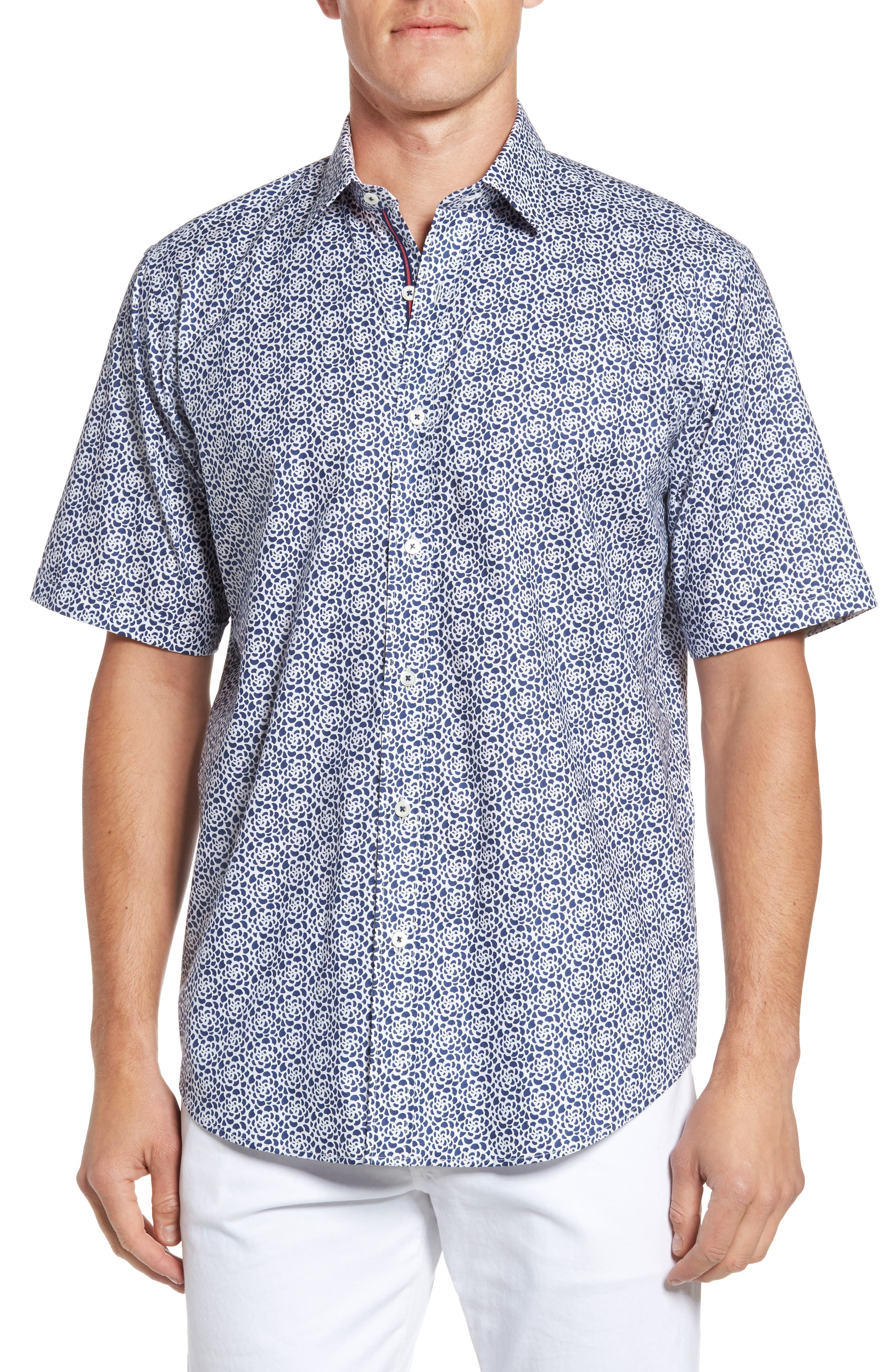 Classic Fit Print Short Sleeve Sport Shirt,                         Main,                         color, 411