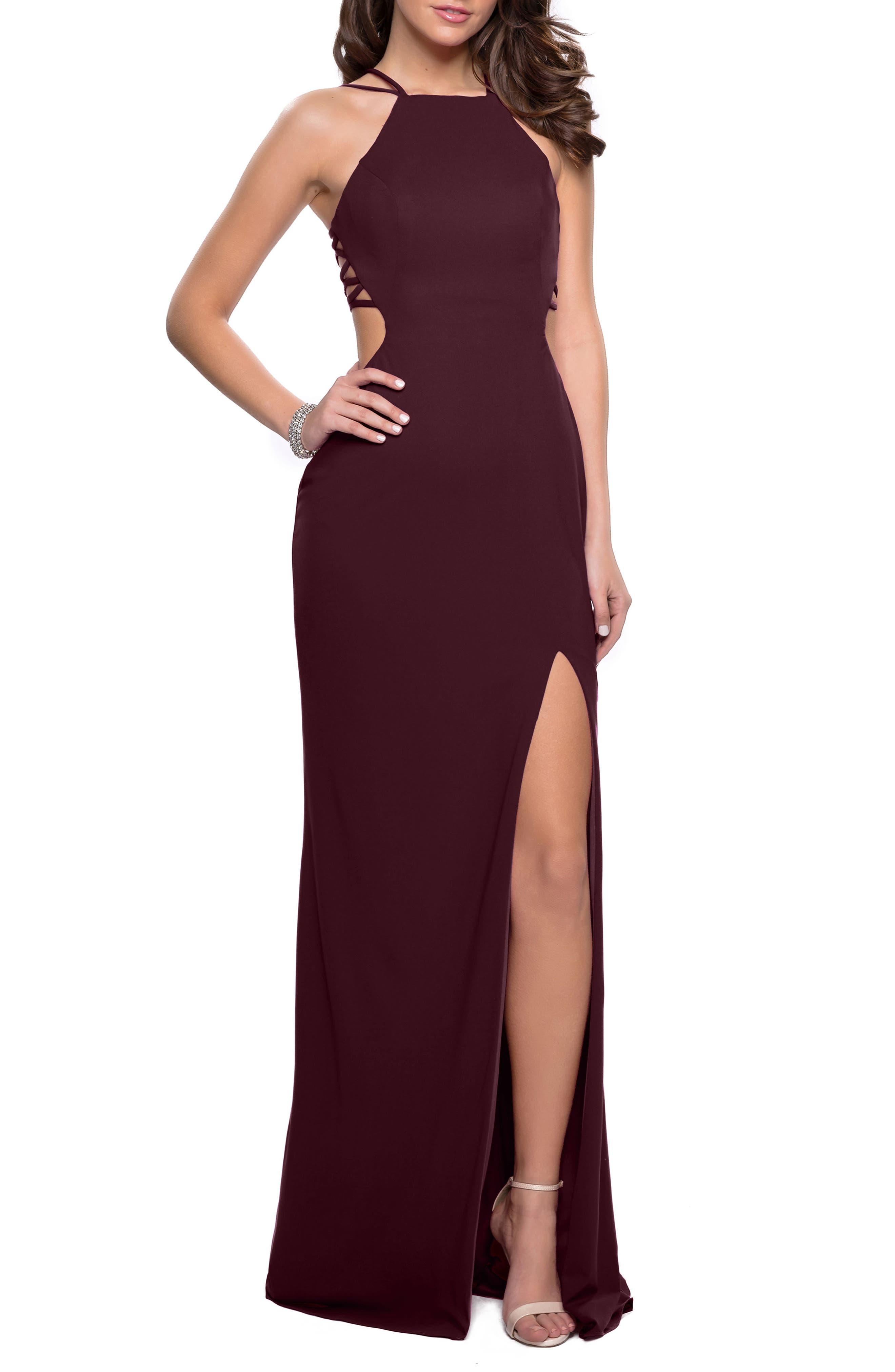 La Femme Open Back Jersey Gown, Burgundy