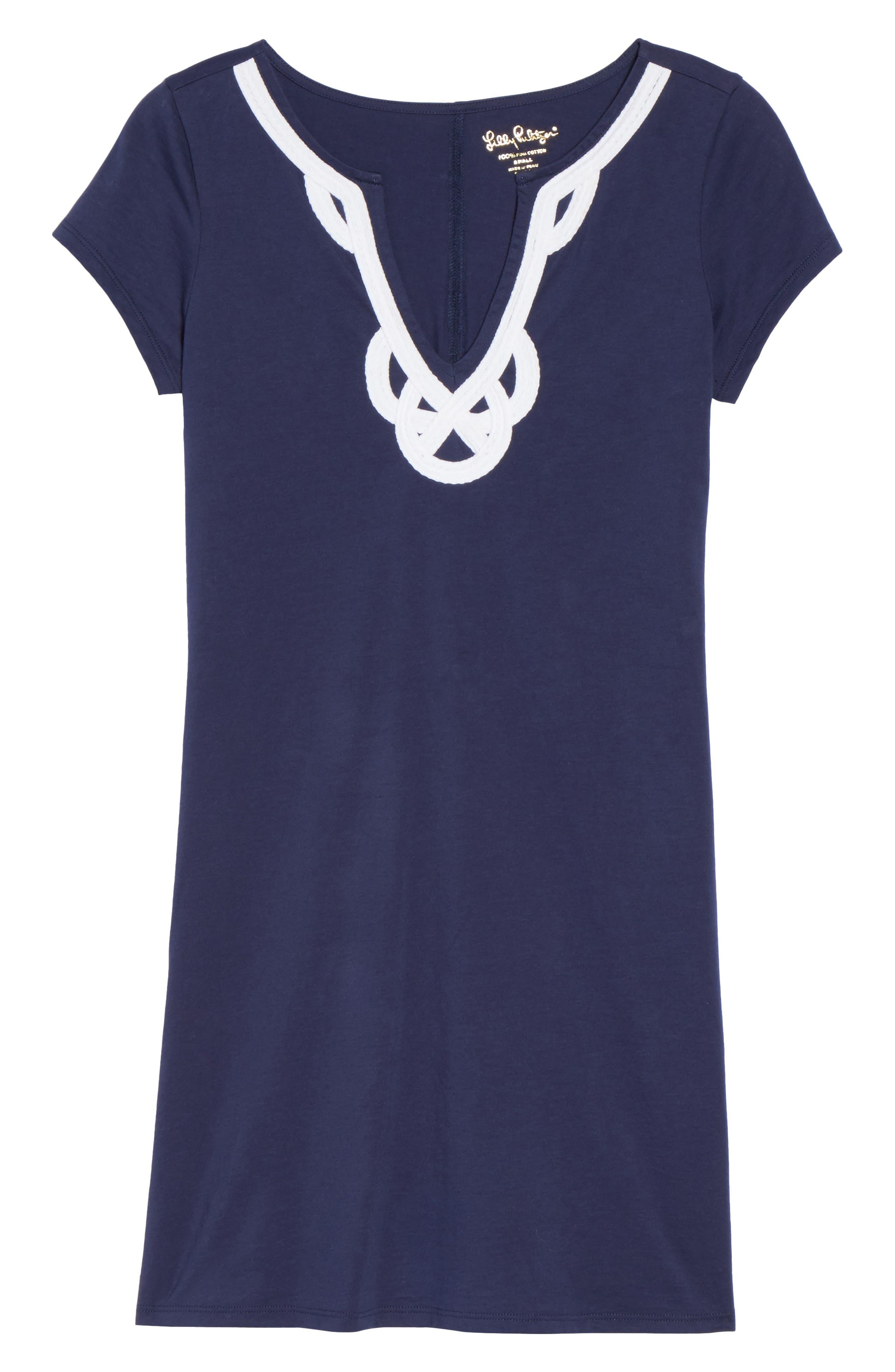 'Brewster' Contrast Trim T-Shirt Dress,                             Alternate thumbnail 6, color,                             TRUE NAVY