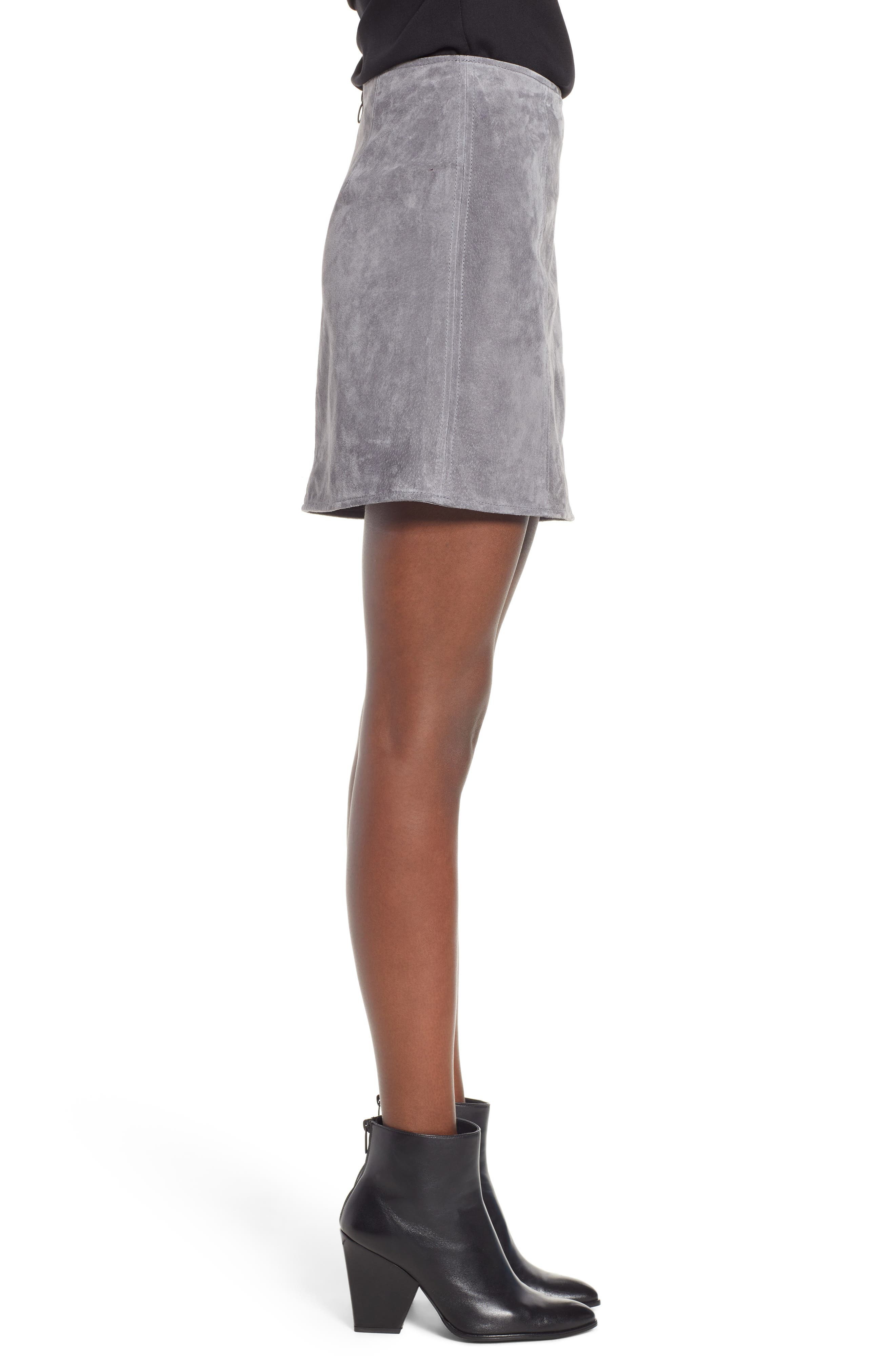 A-Line Suede Skirt,                             Alternate thumbnail 3, color,                             SILVER SCREEN